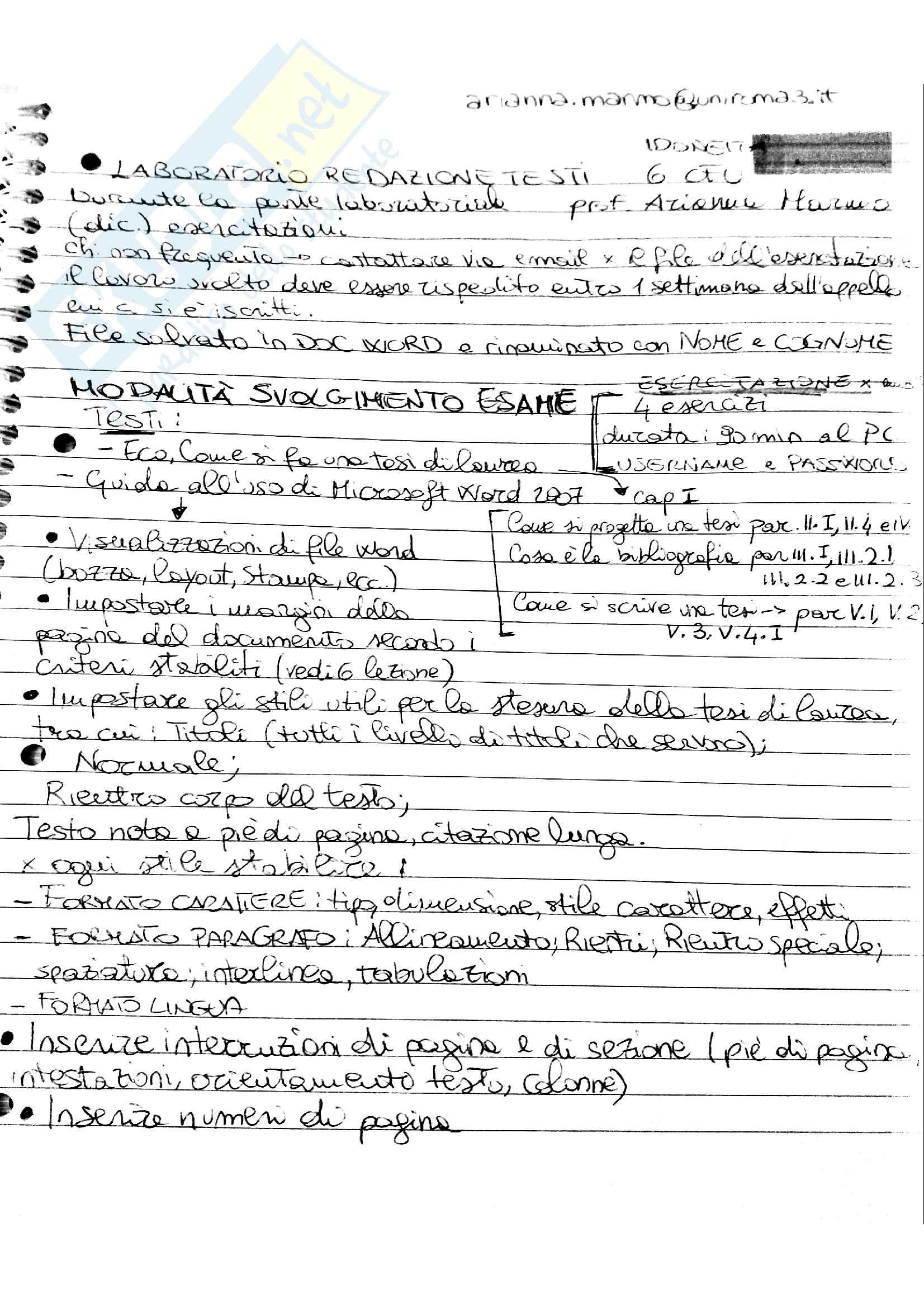 Laboratorio redazione testi