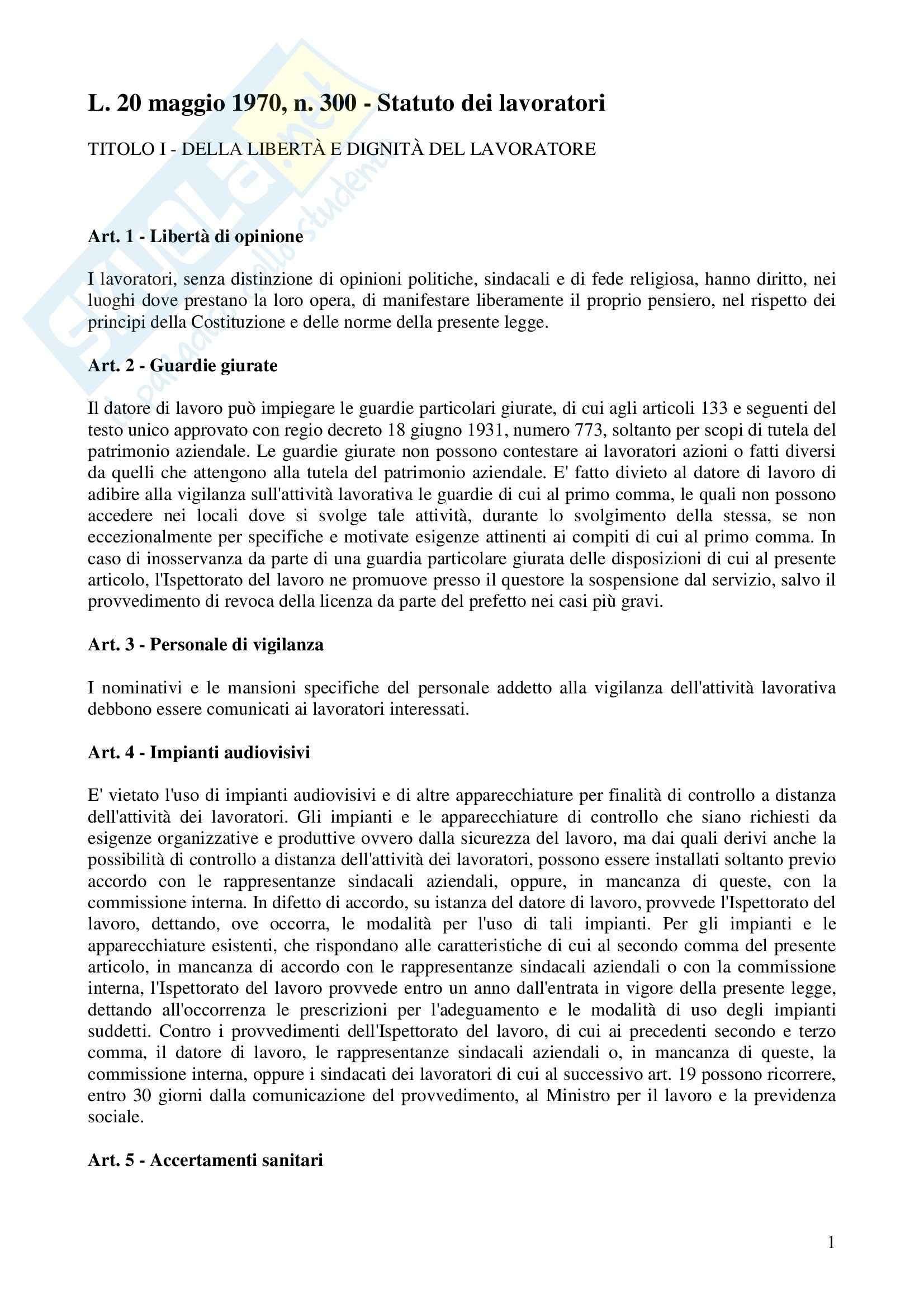 Diritto del lavoro - lo Statuto dei lavoratori,  Legge