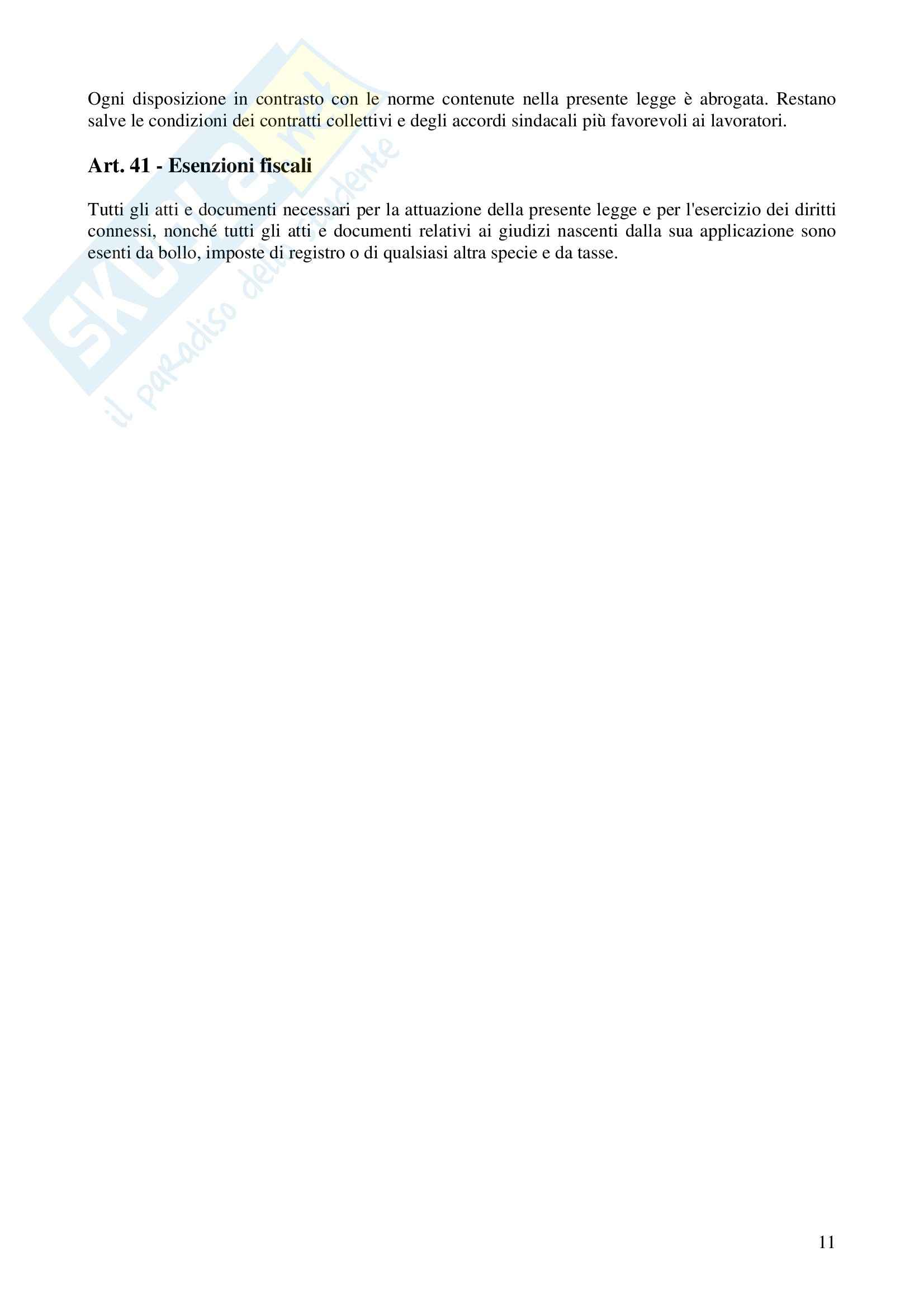 Diritto del lavoro - lo Statuto dei lavoratori,  Legge Pag. 11