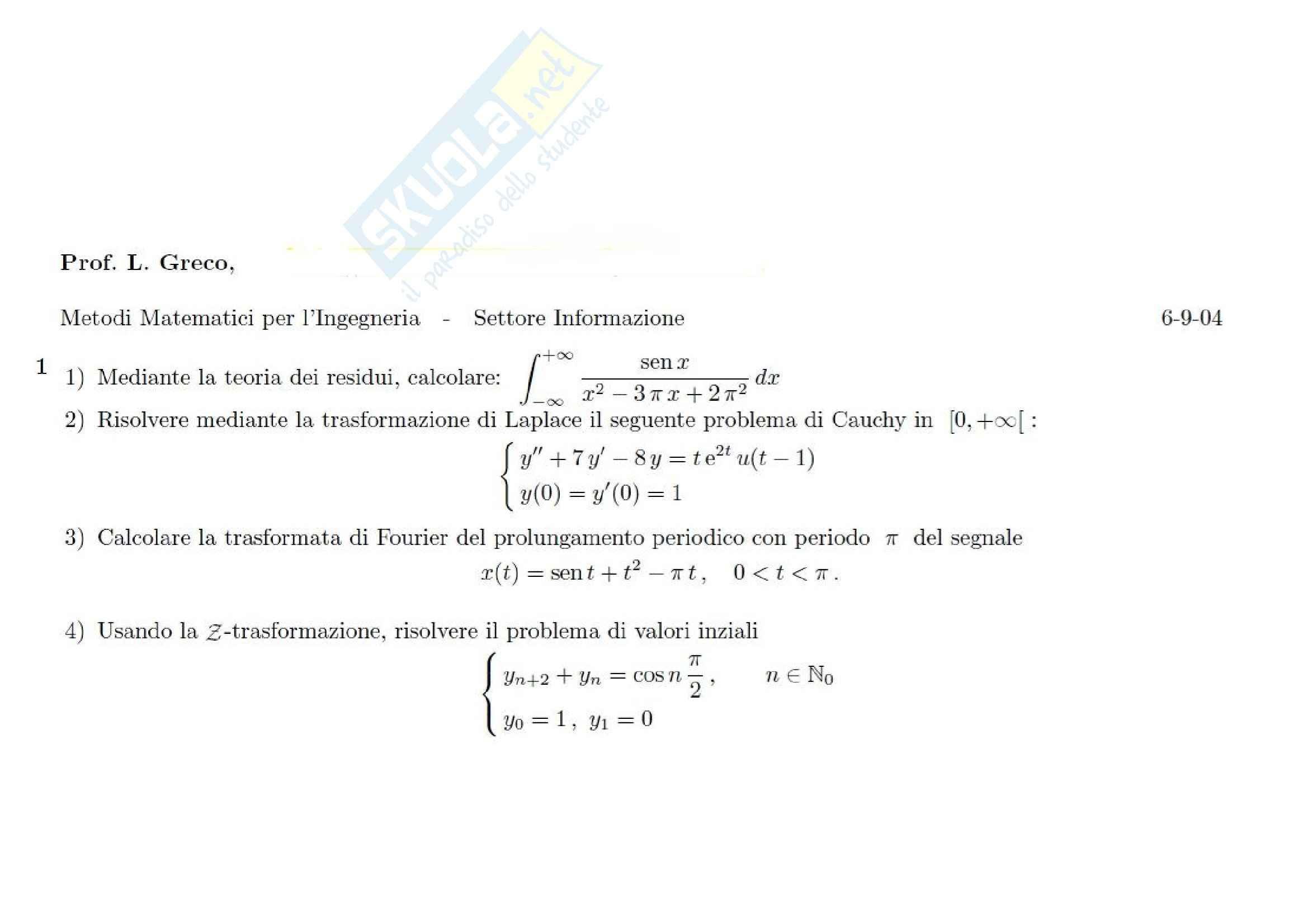 Metodi matematici per l'ingegneria - Esercitazione