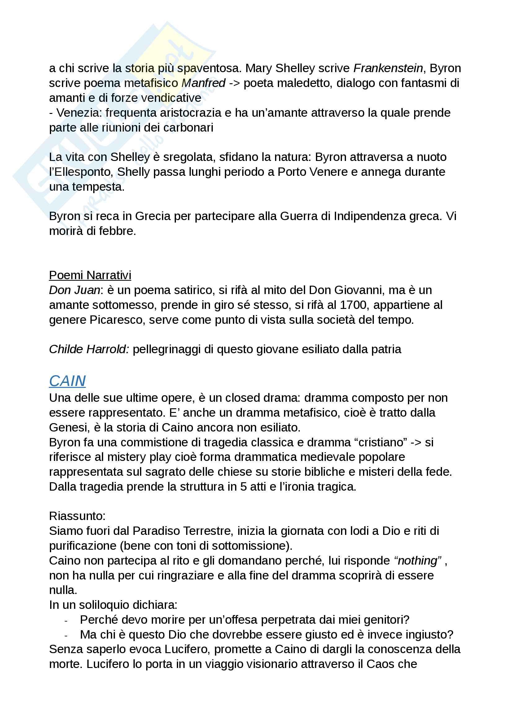 Riassunto esame Mod.1 Letteratura Inglese B, prof. Ferreccio Pag. 11