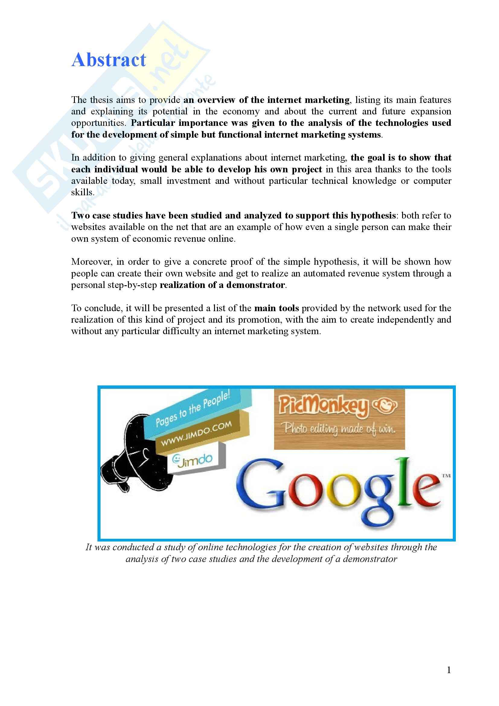 Tesi - Come realizzare entrate economiche grazie ad internet - internet marketing opportunities for individuals - Pag. 11
