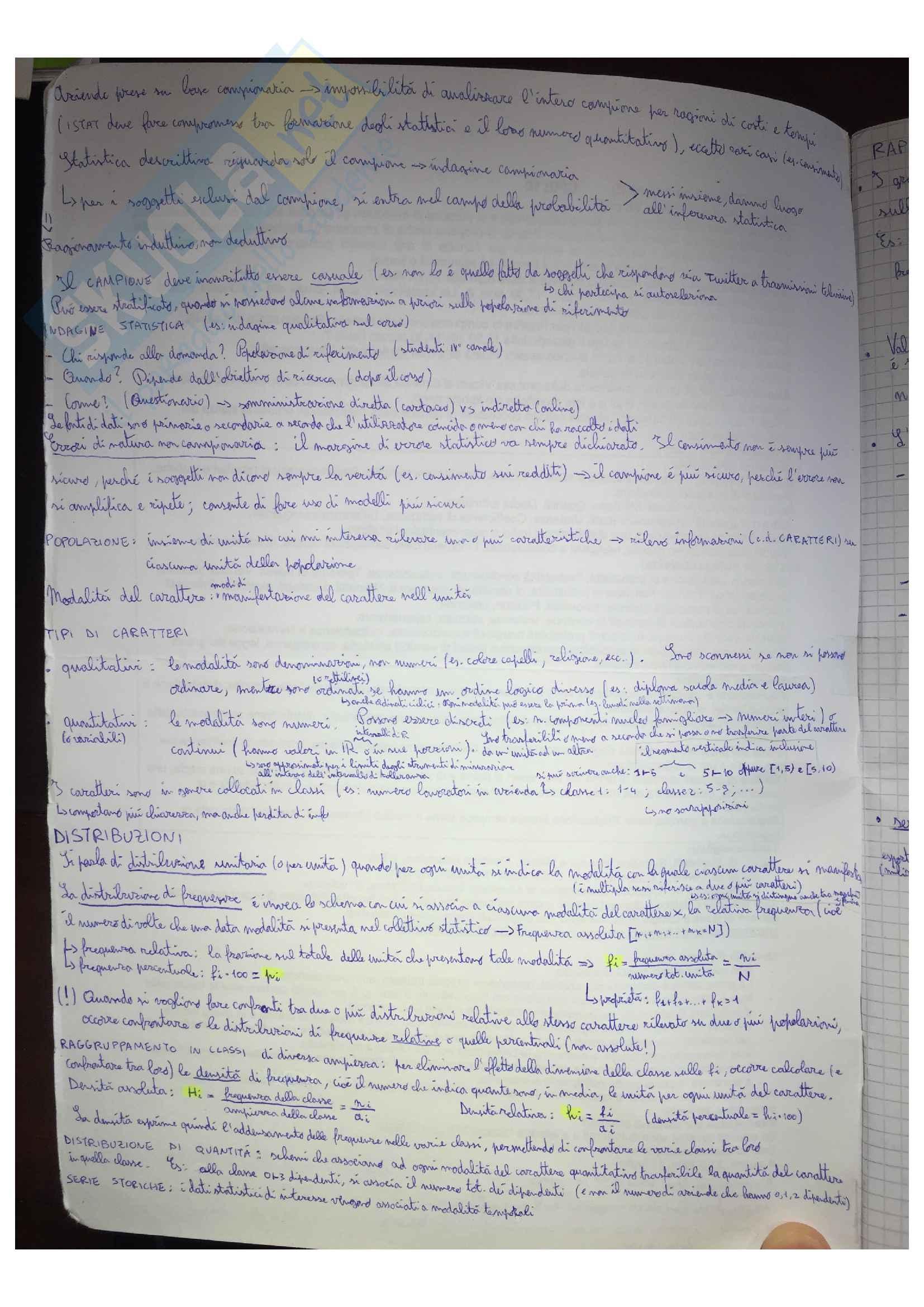 Appunti di Statistica, docente Paola Vicard