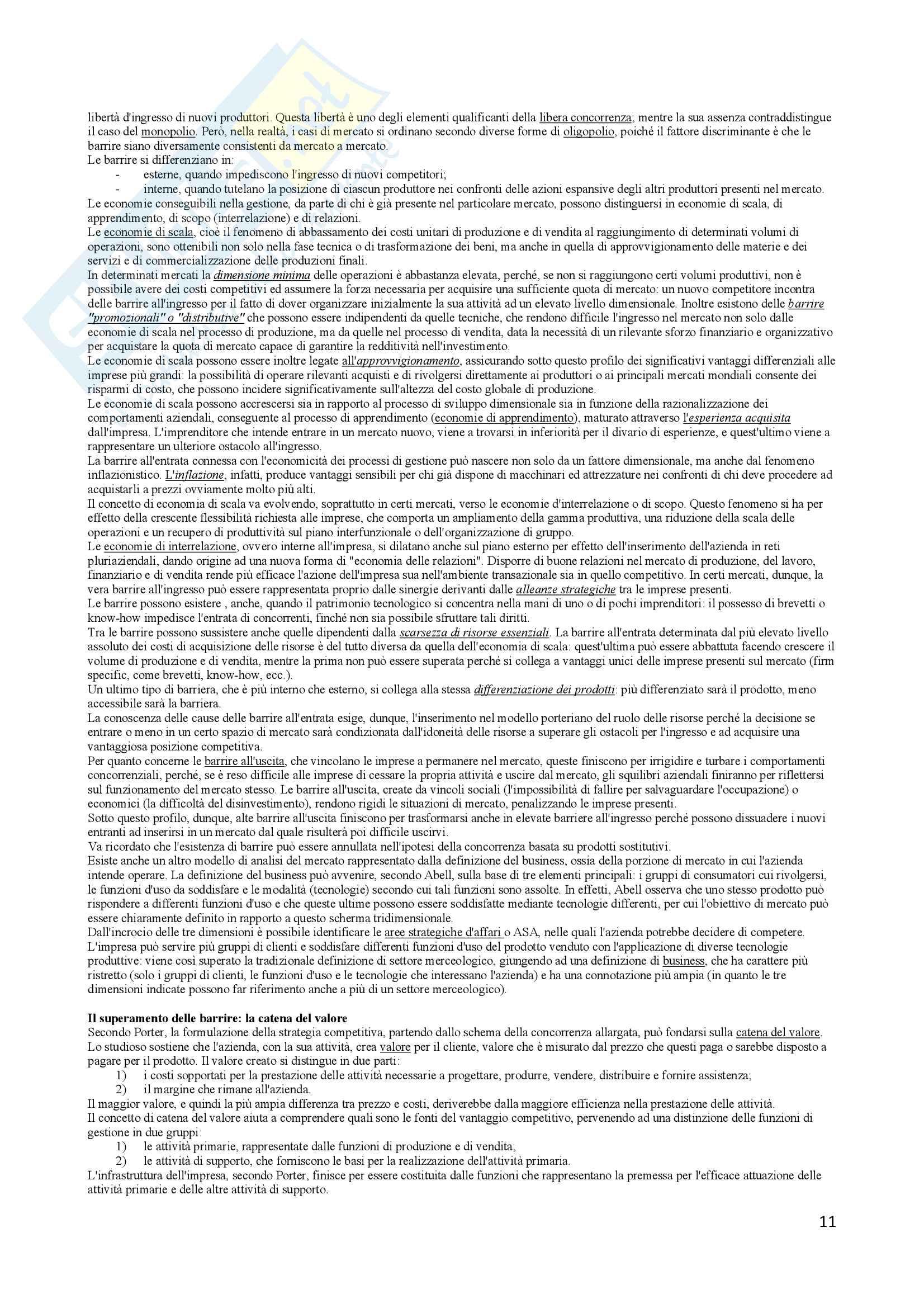 Riassunto esame Economia e gestione delle imprese, docente Vesci-Botti, libro consigliato La gestione dell impresa, Sciarelli Pag. 11