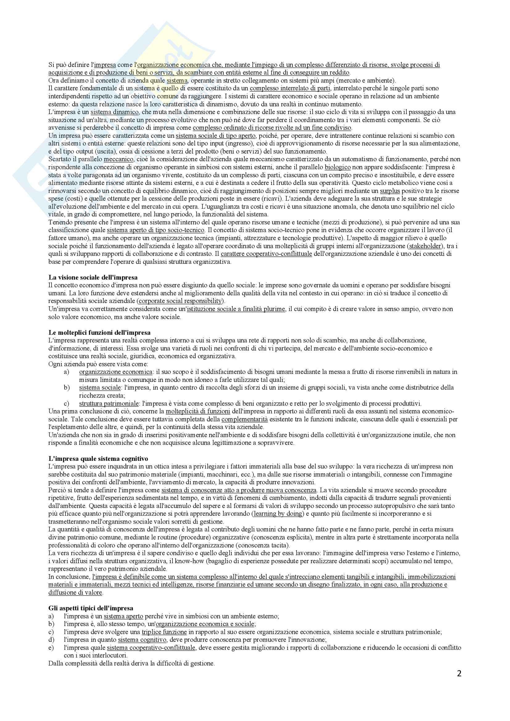 Riassunto esame Economia e gestione delle imprese, docente Vesci-Botti, libro consigliato La gestione dell impresa, Sciarelli Pag. 2