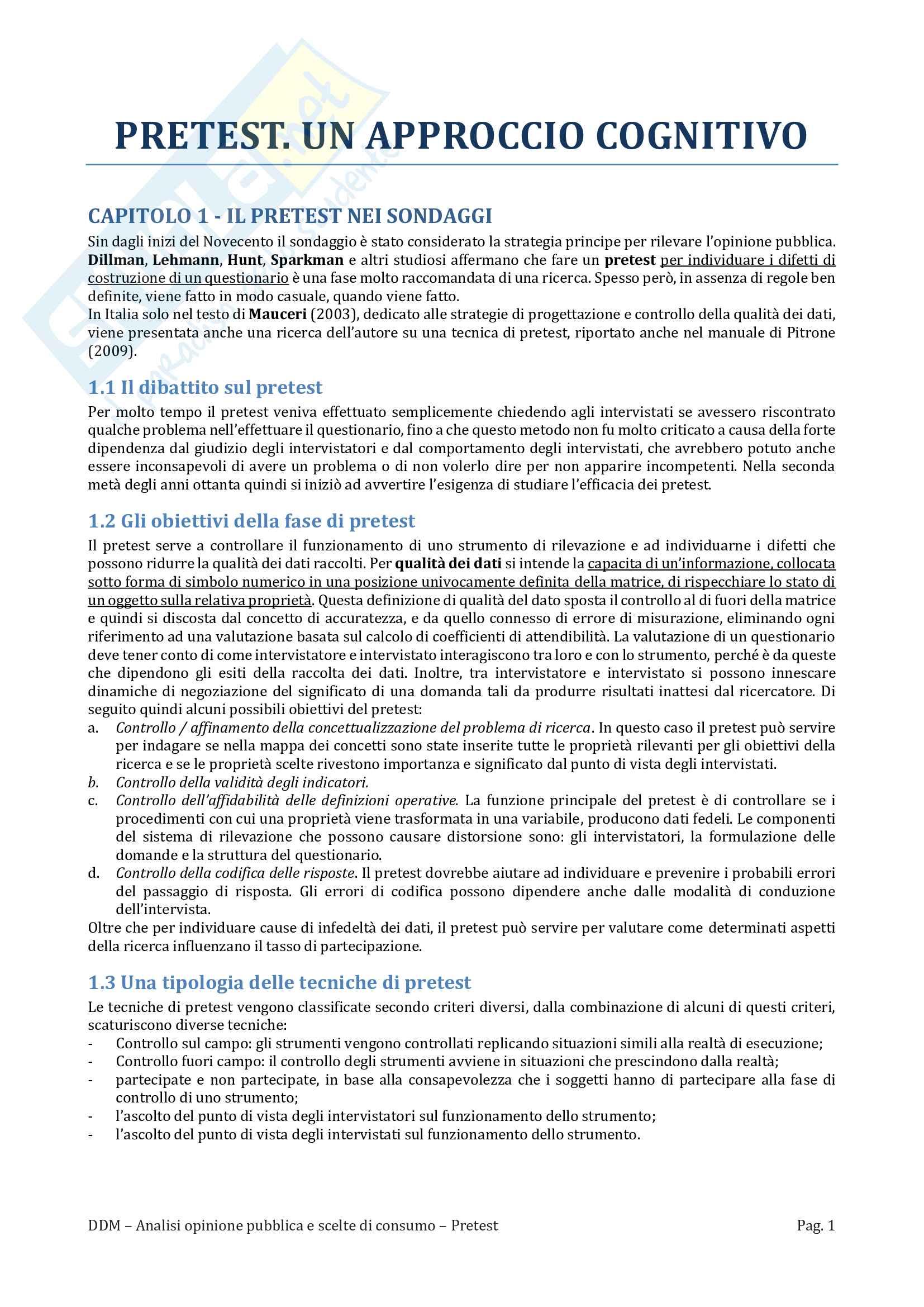Riassunto Esame Analisi opinione pubblica e scelte di consumo, Prof Martire, libro consigliato Pretest