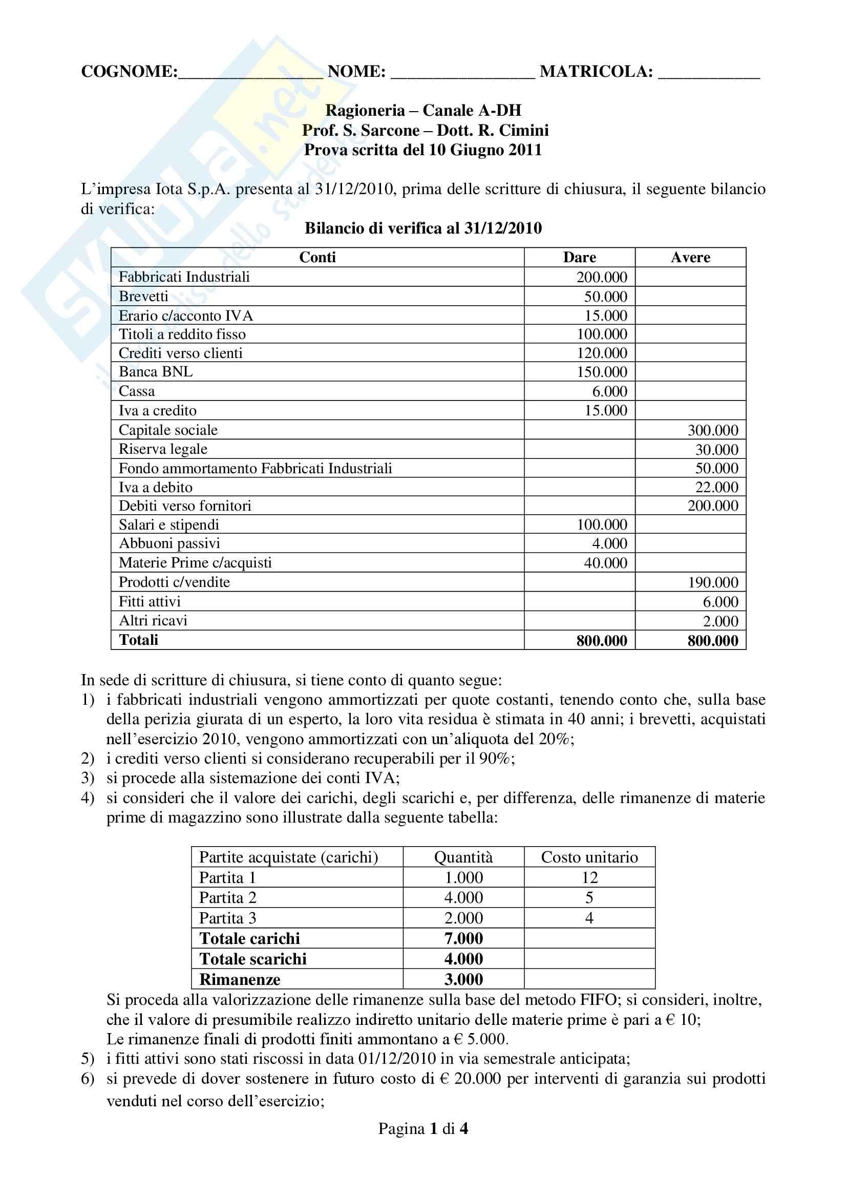 Ragioneria - primo appello prova scritta 2012