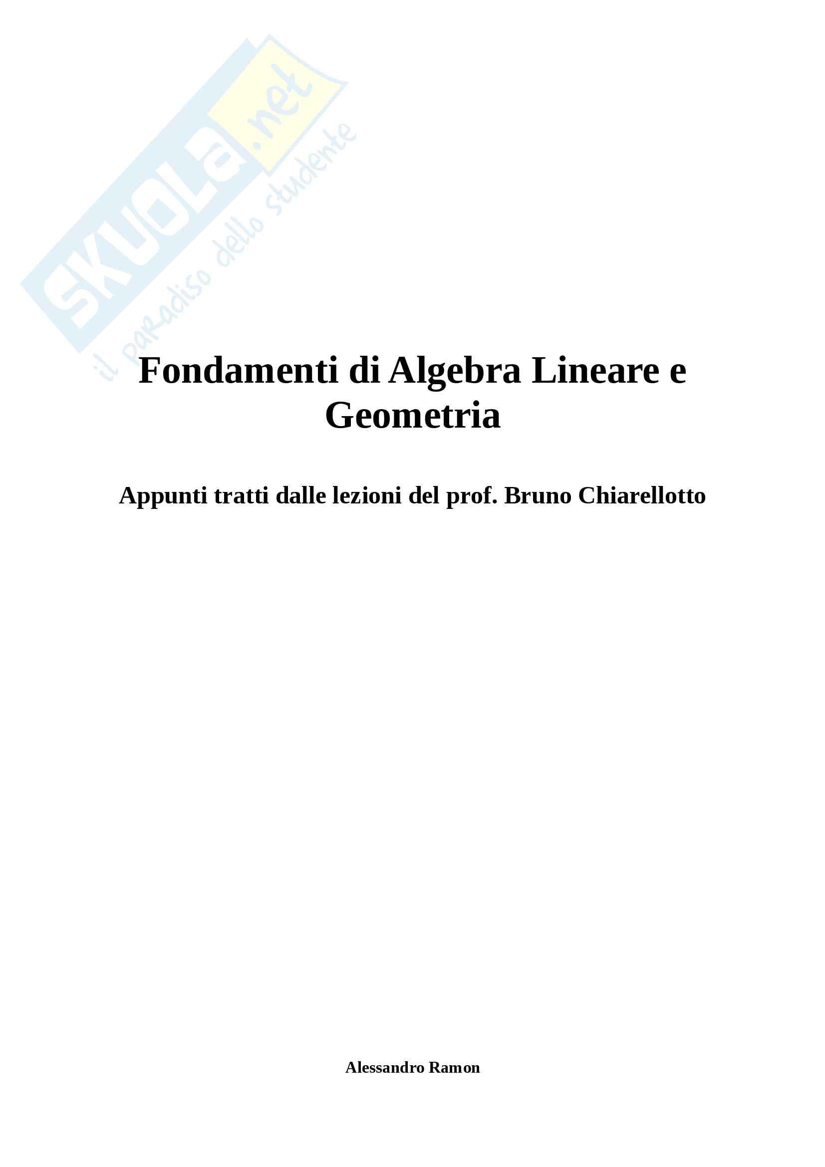 Fondamenti di Algebra Lineare e Geometria - Appunti