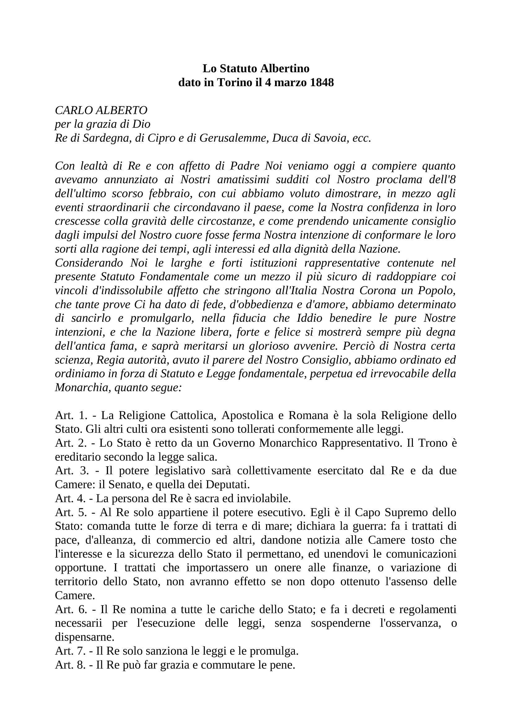 Statuto Albertino 1848