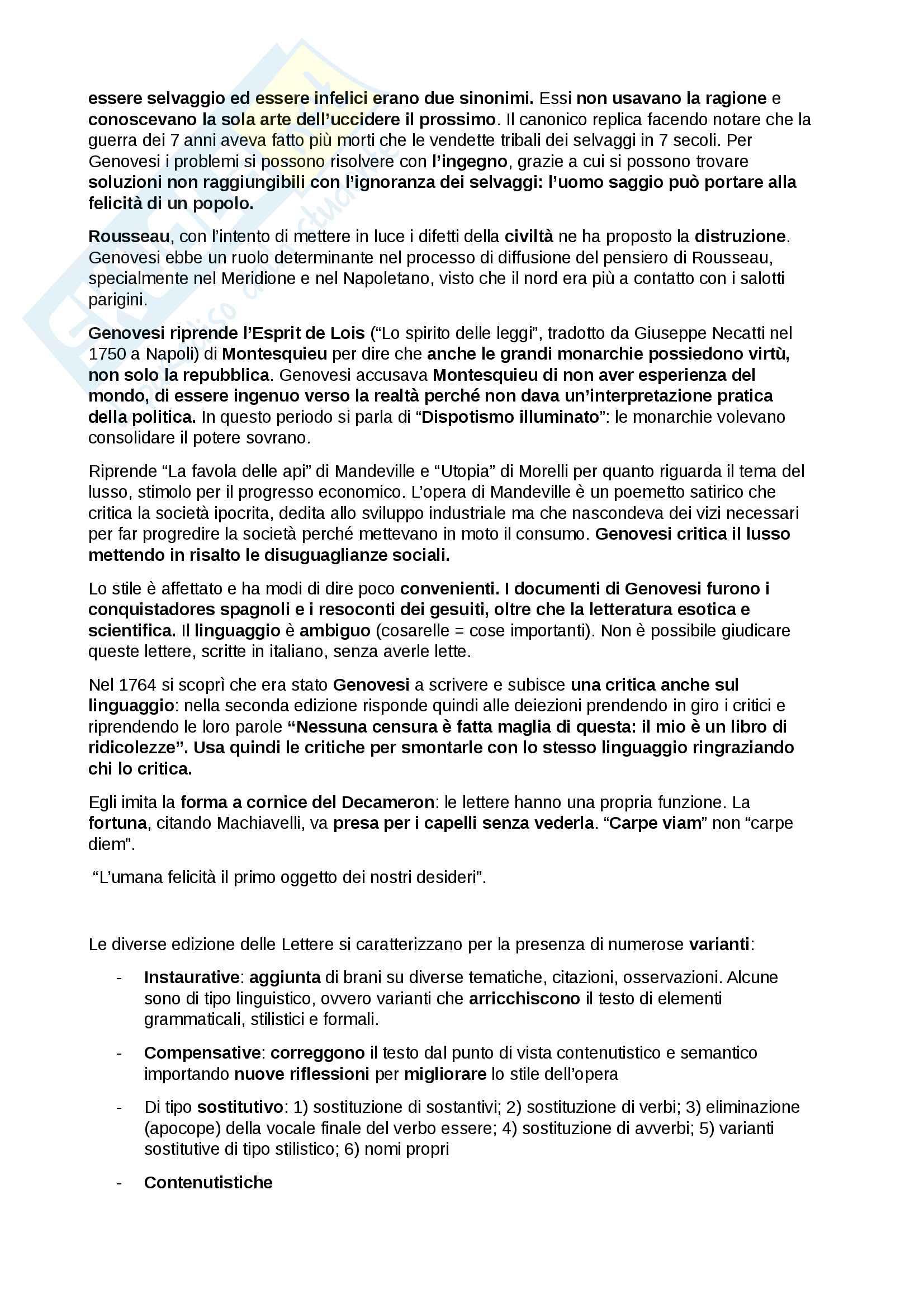 """Riassunto esame Letteratura Italiana, docente D'Antuono, libri consigliati """"Lettere"""" e il """"Discorso"""" di Antonio Genovesi Pag. 16"""