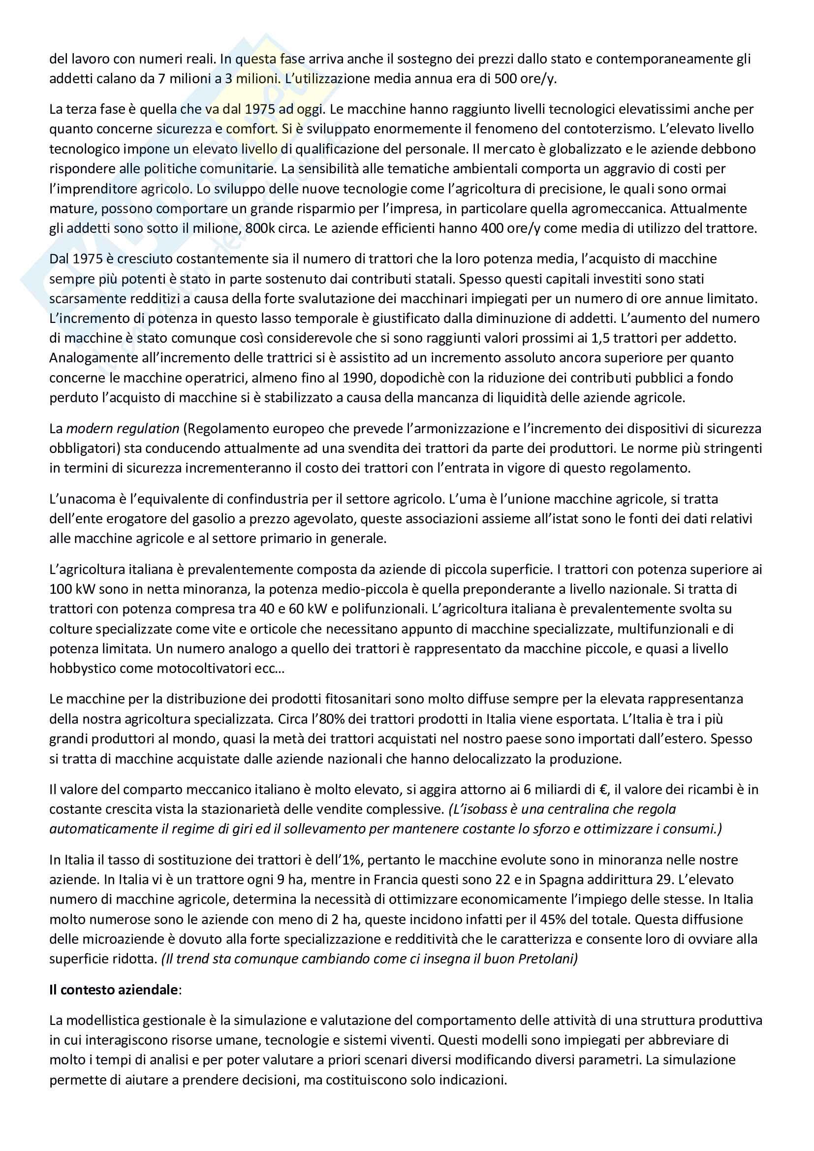 Meccanizzazione agricola, pianificazione e gestione dei processi meccanizzati Pag. 2