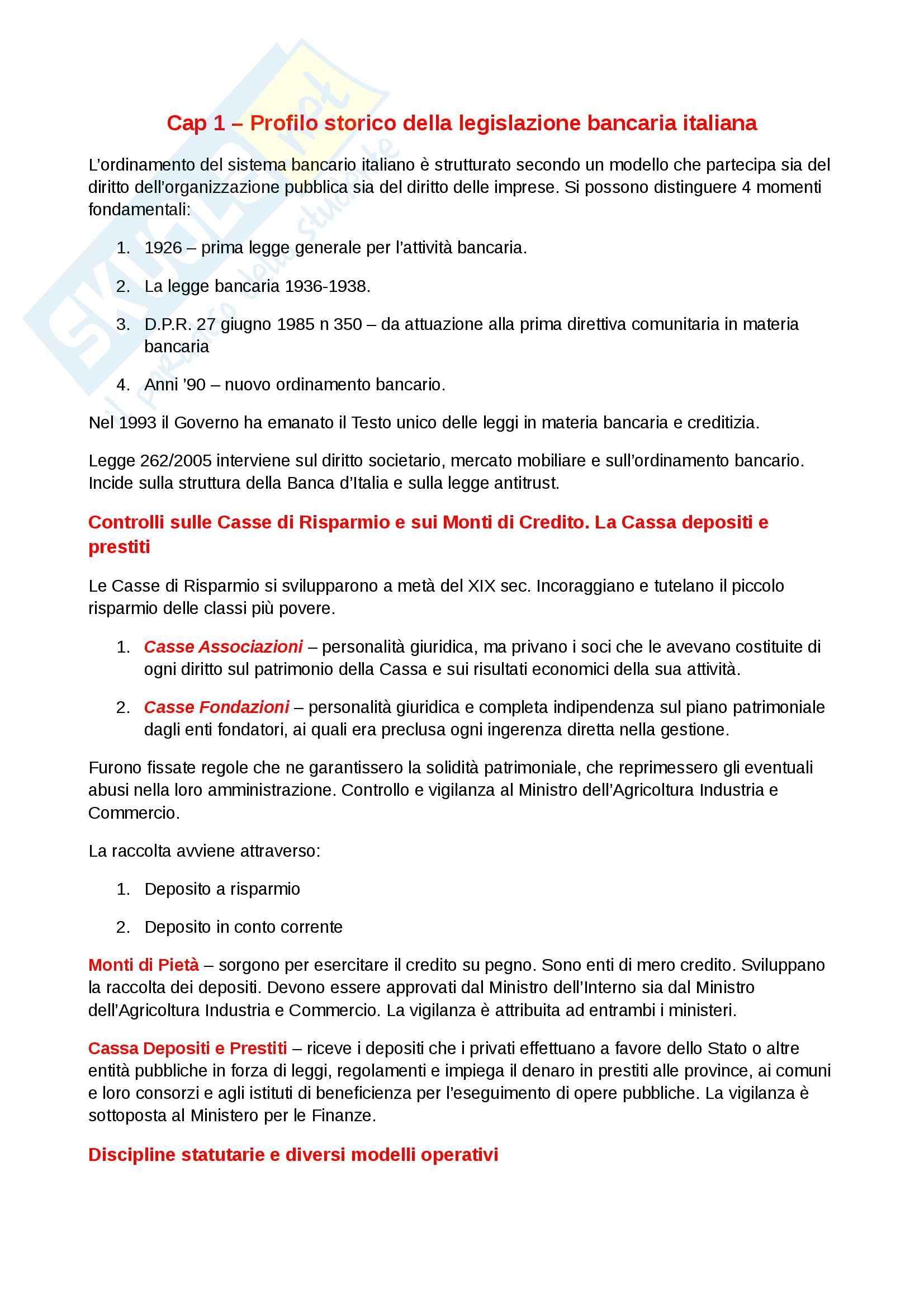 Riassunto esame diritto, prof. Gattoni, libro consigliato L'ordinamento bancario, Costi