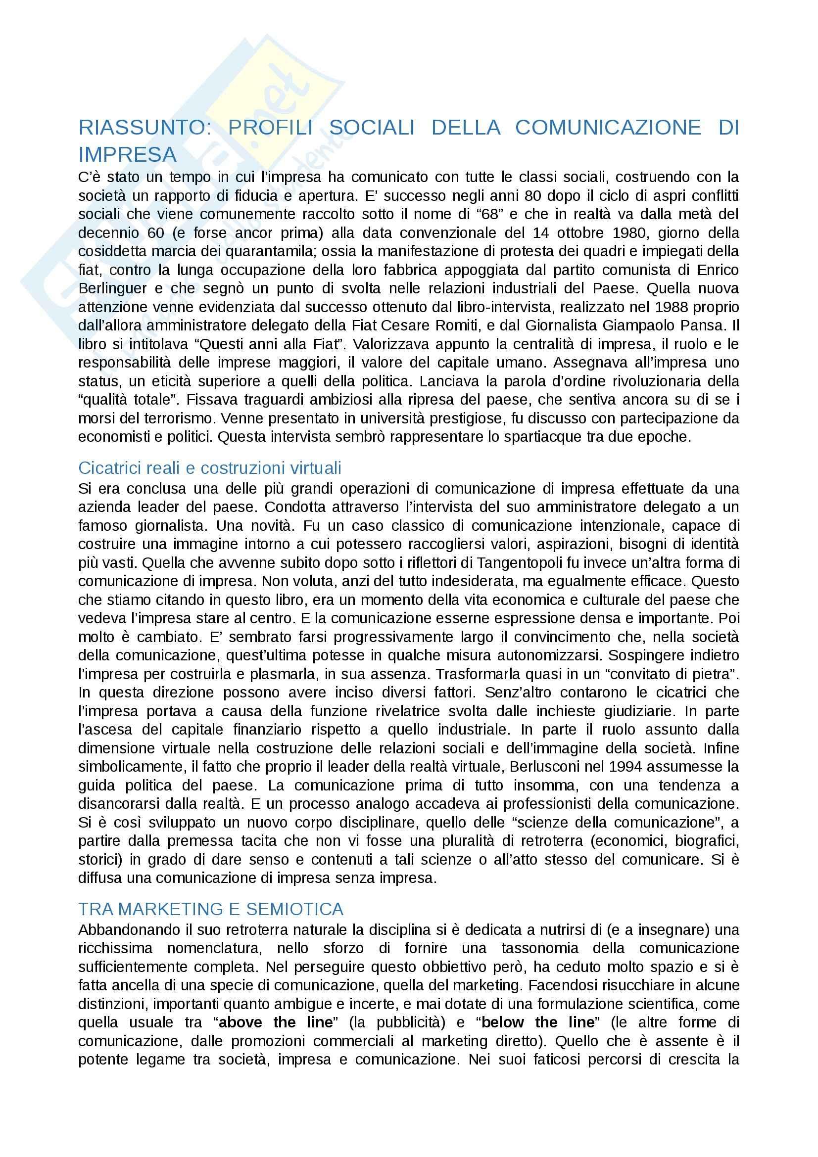 Riassunto esame Gestione di impresa, prof. Dalla Chiesa, libro consigliato Profili sociali della comunicazione di impresa Pag. 1