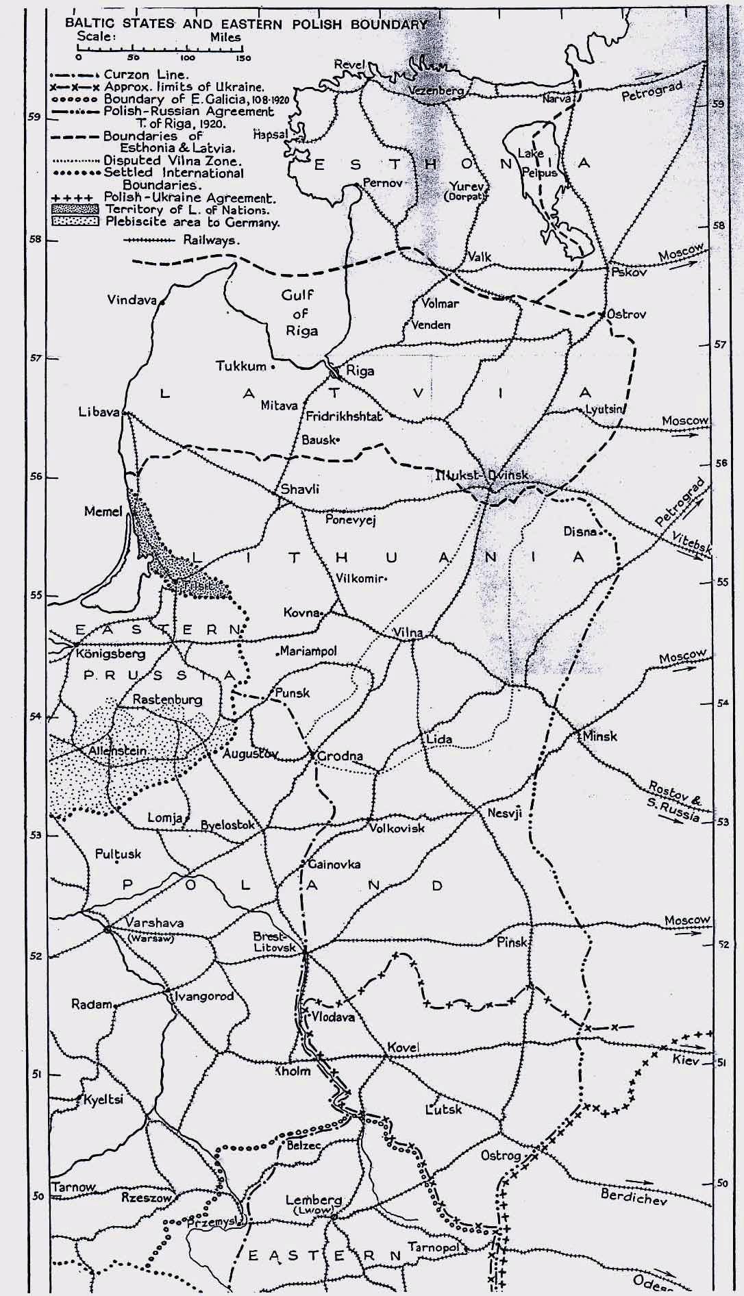 Prima Guerra Mondiale - Polonia e stati baltici, mappa 1919-1920