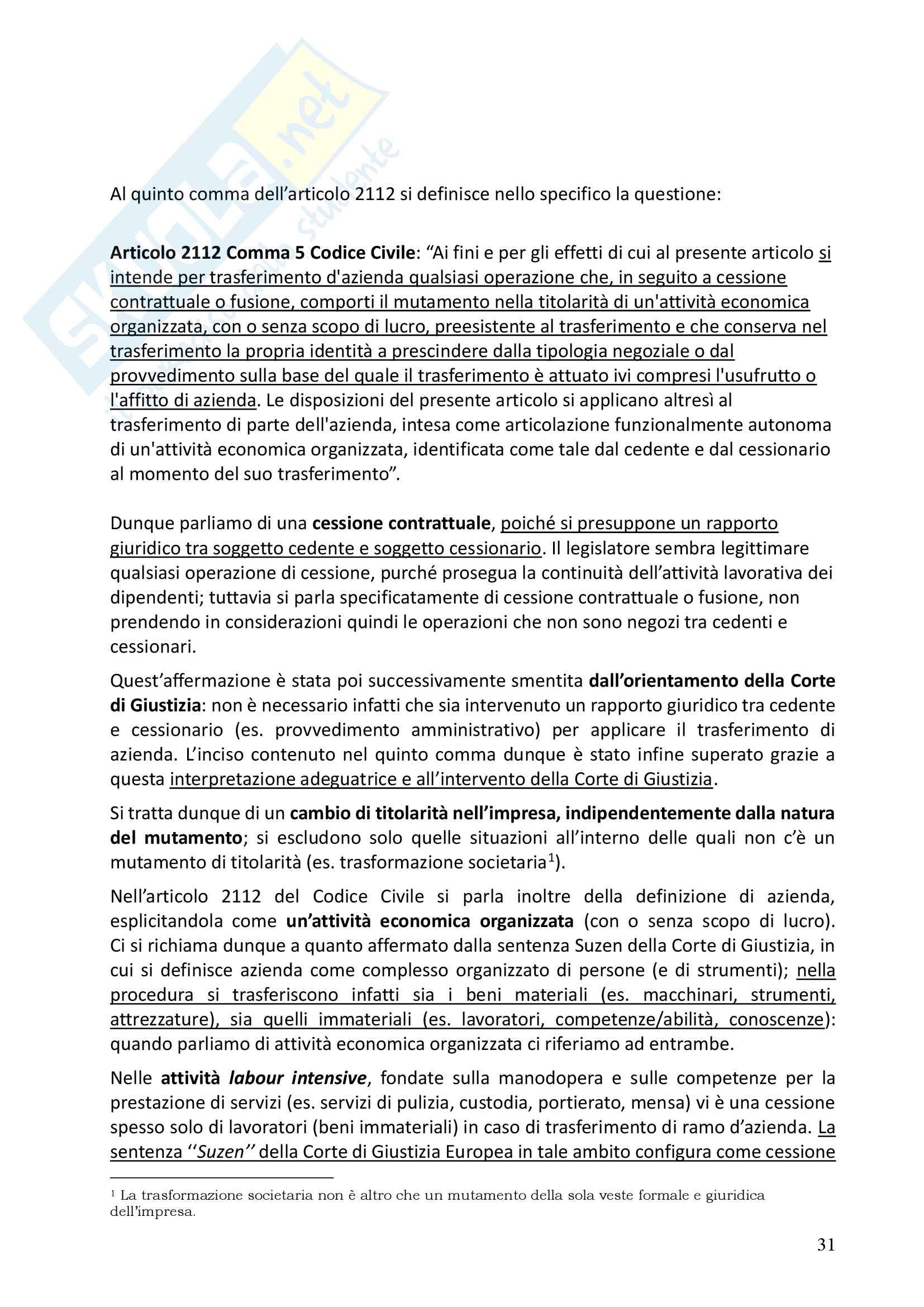 Diritto del lavoro privato- Prof. Faleri Pag. 31