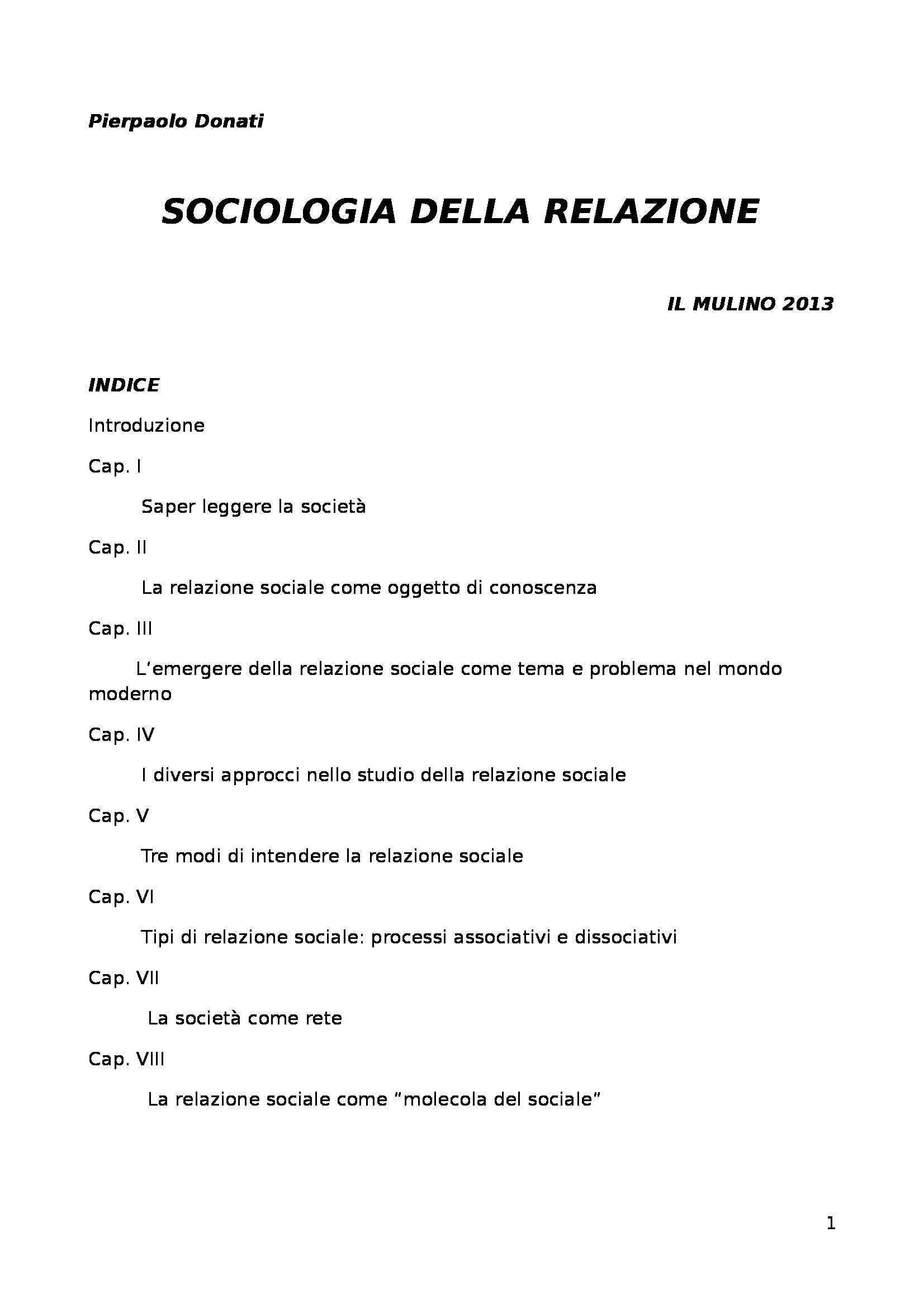 Sociologia della relazione, Donati - Riassunto esame