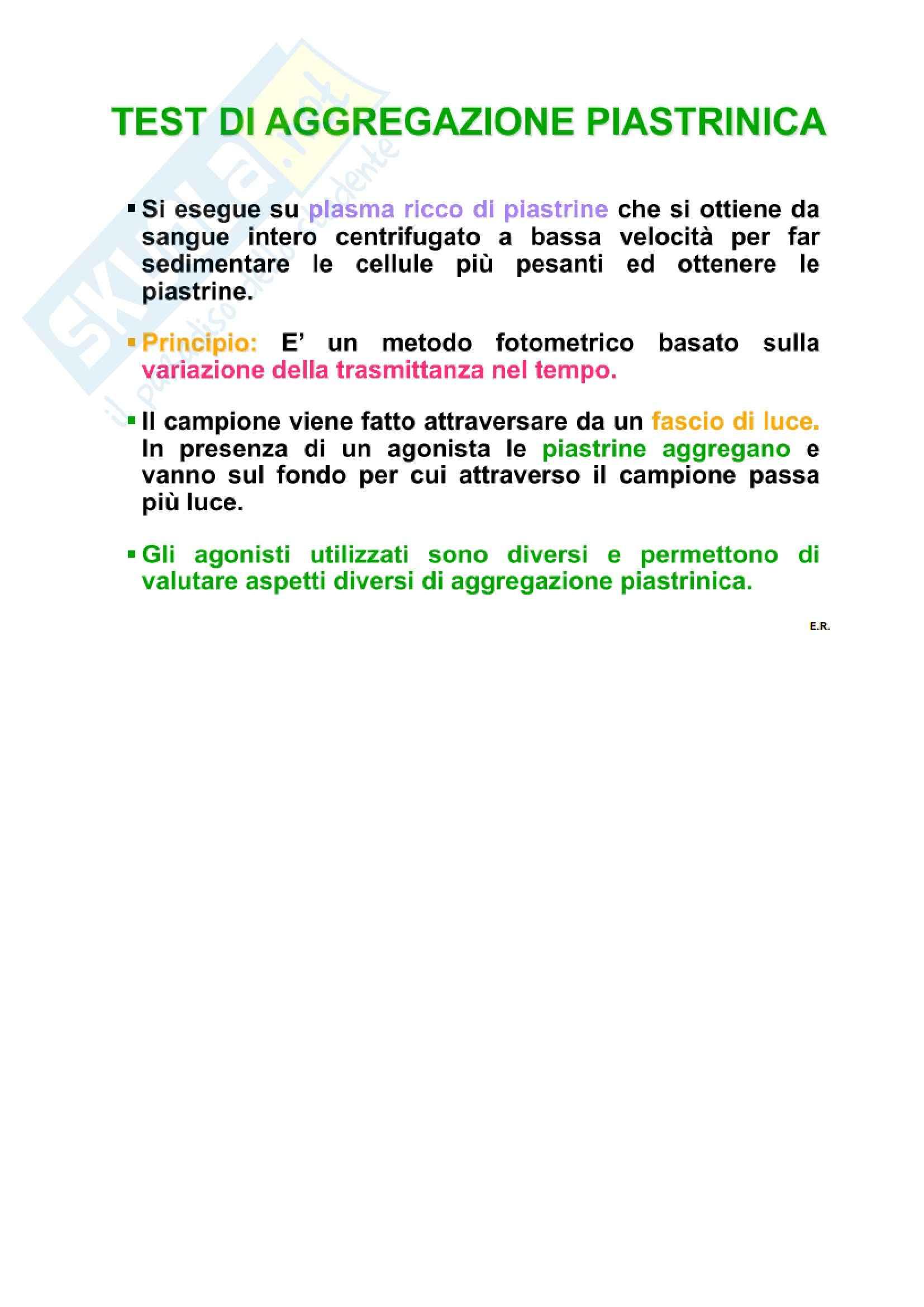 Patologia clinica - l'aggregazione piastrinica