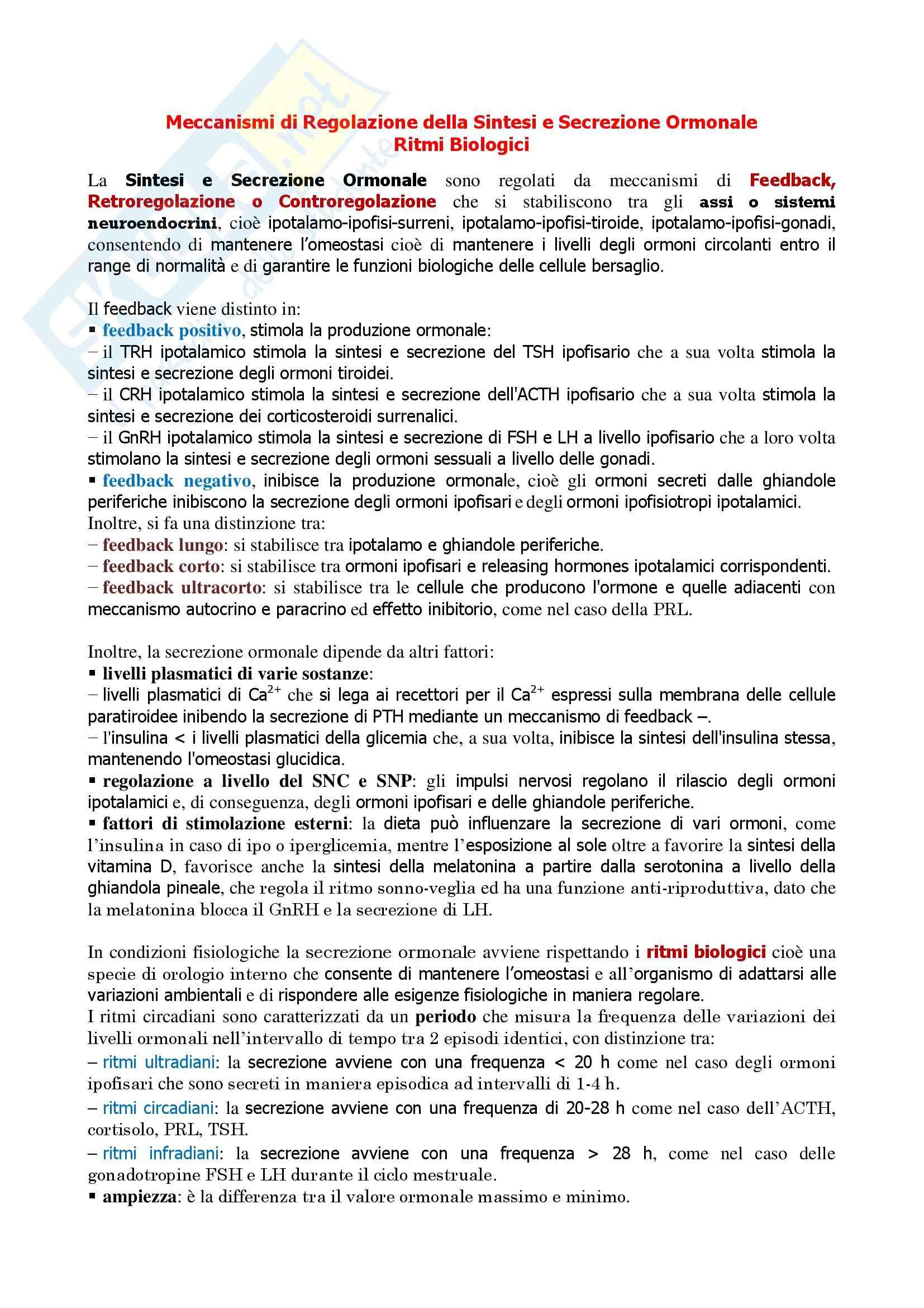 Endocrinologia - meccanismi di regolazione della sintesi e secrezione ormonale