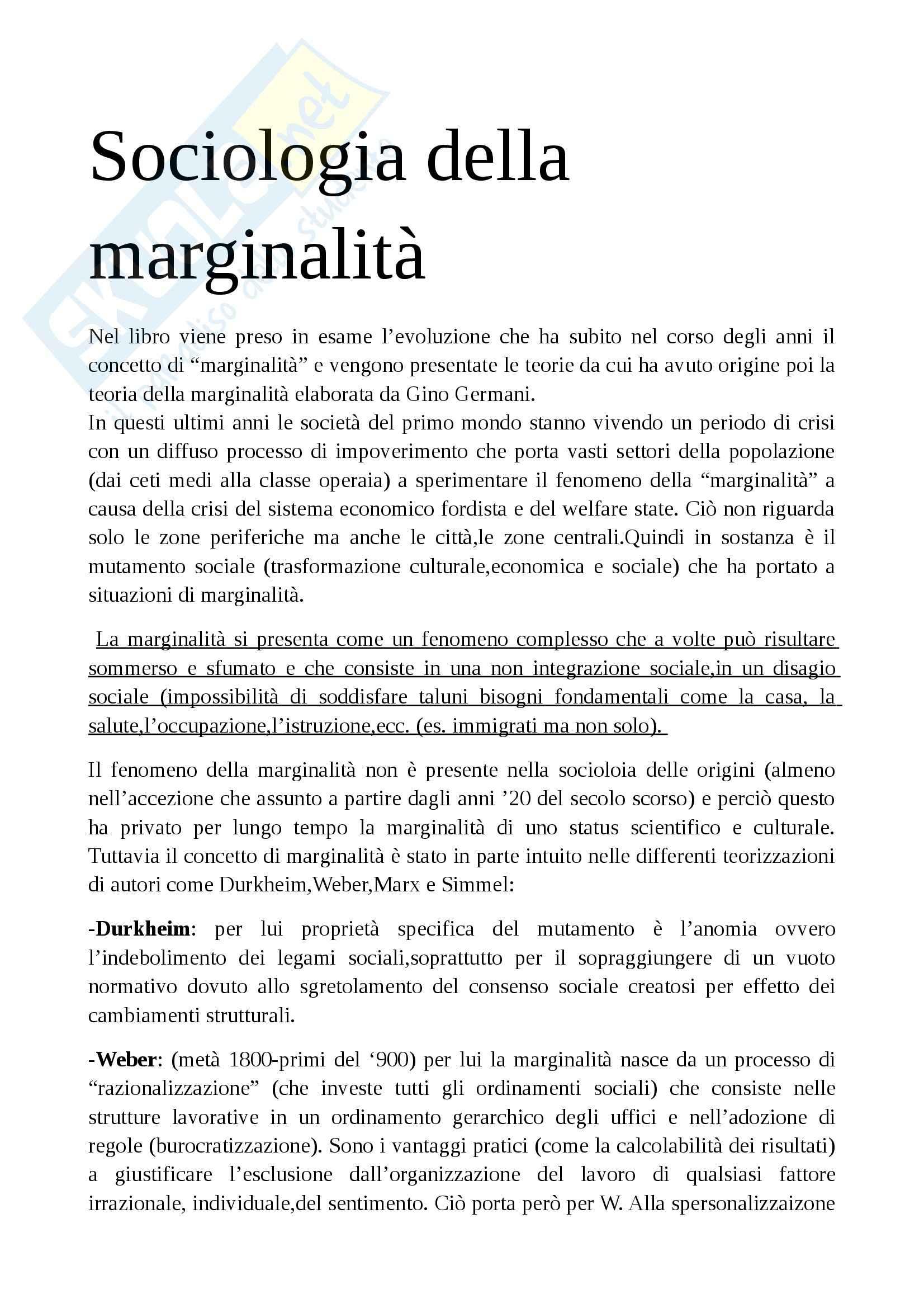 Riassunto esame Sociologia dell'educazione, prof. Giardiello, libro consigliato Sociologia della marginalità, Giardiello