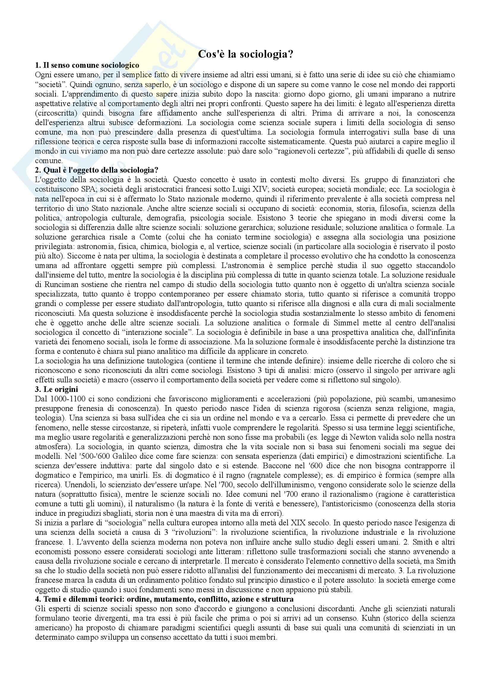 Riassunto esame Istituzioni di Sociologia, prof. Ravelli, libro consigliato Corso di sociologia, Bagnasco, Barbagli, Cavalli