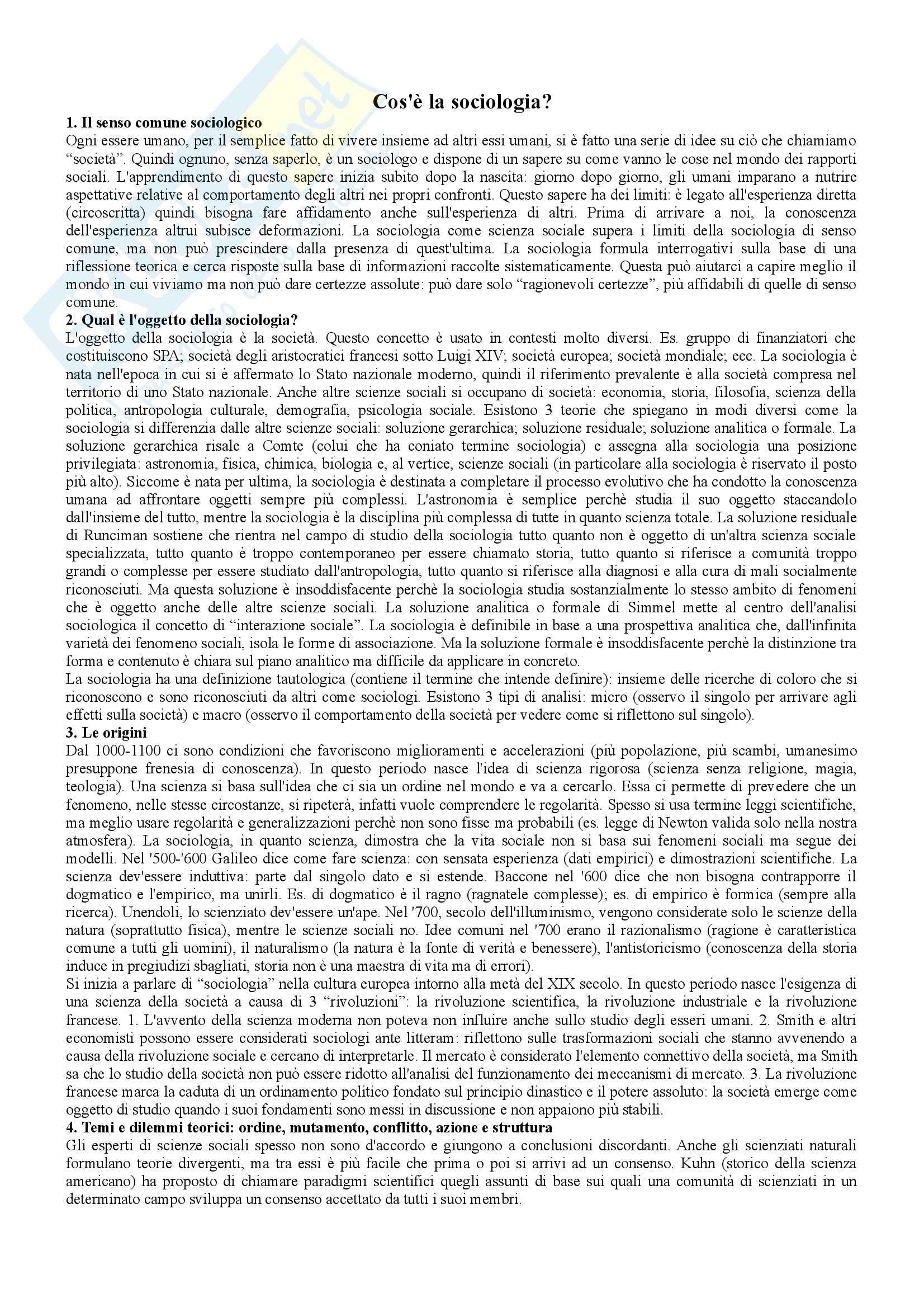appunto M. Ravelli Istituzioni di Sociologia