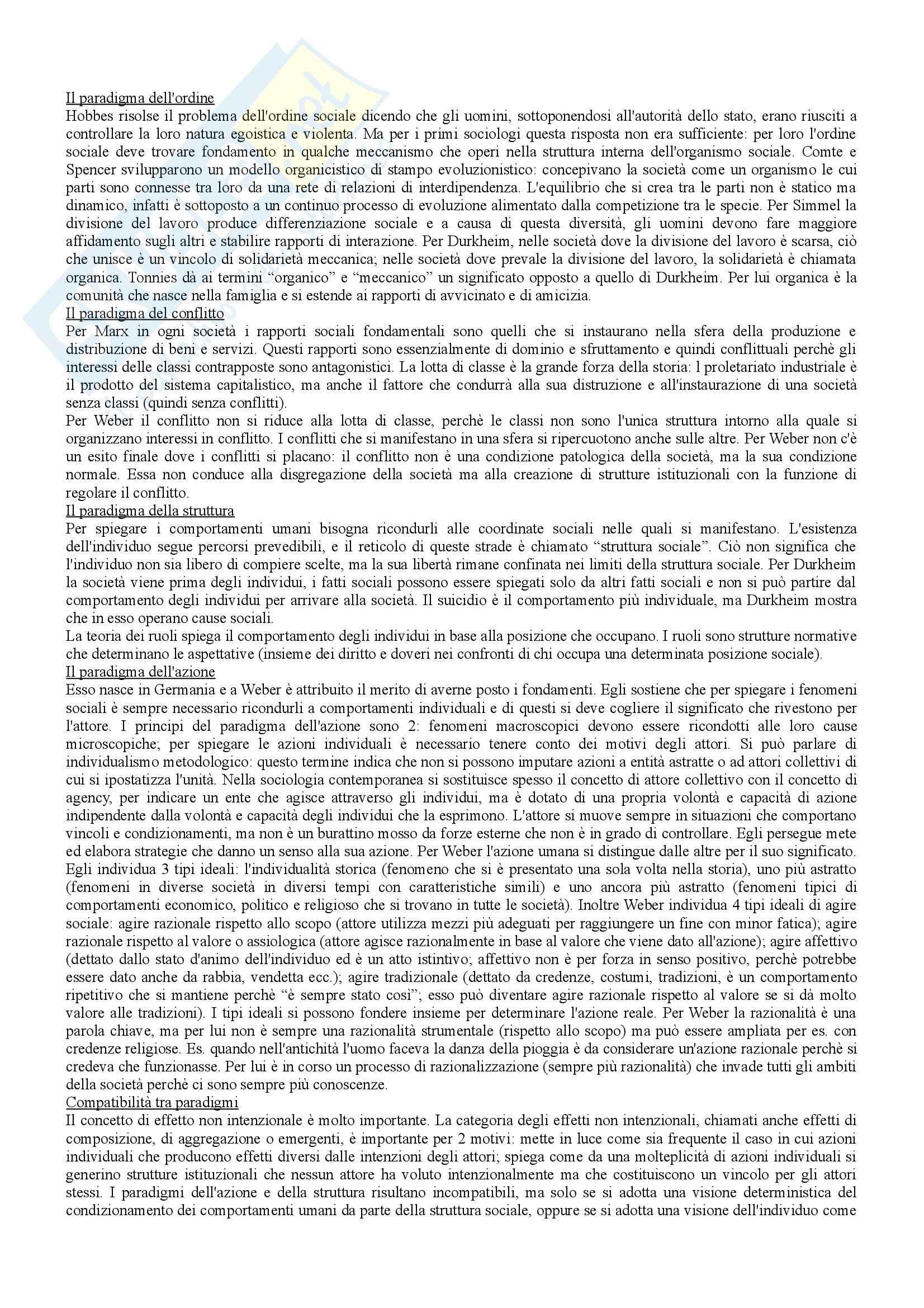 Riassunto esame Istituzioni di Sociologia, prof. Ravelli, libro consigliato Corso di sociologia, Bagnasco, Barbagli, Cavalli Pag. 2