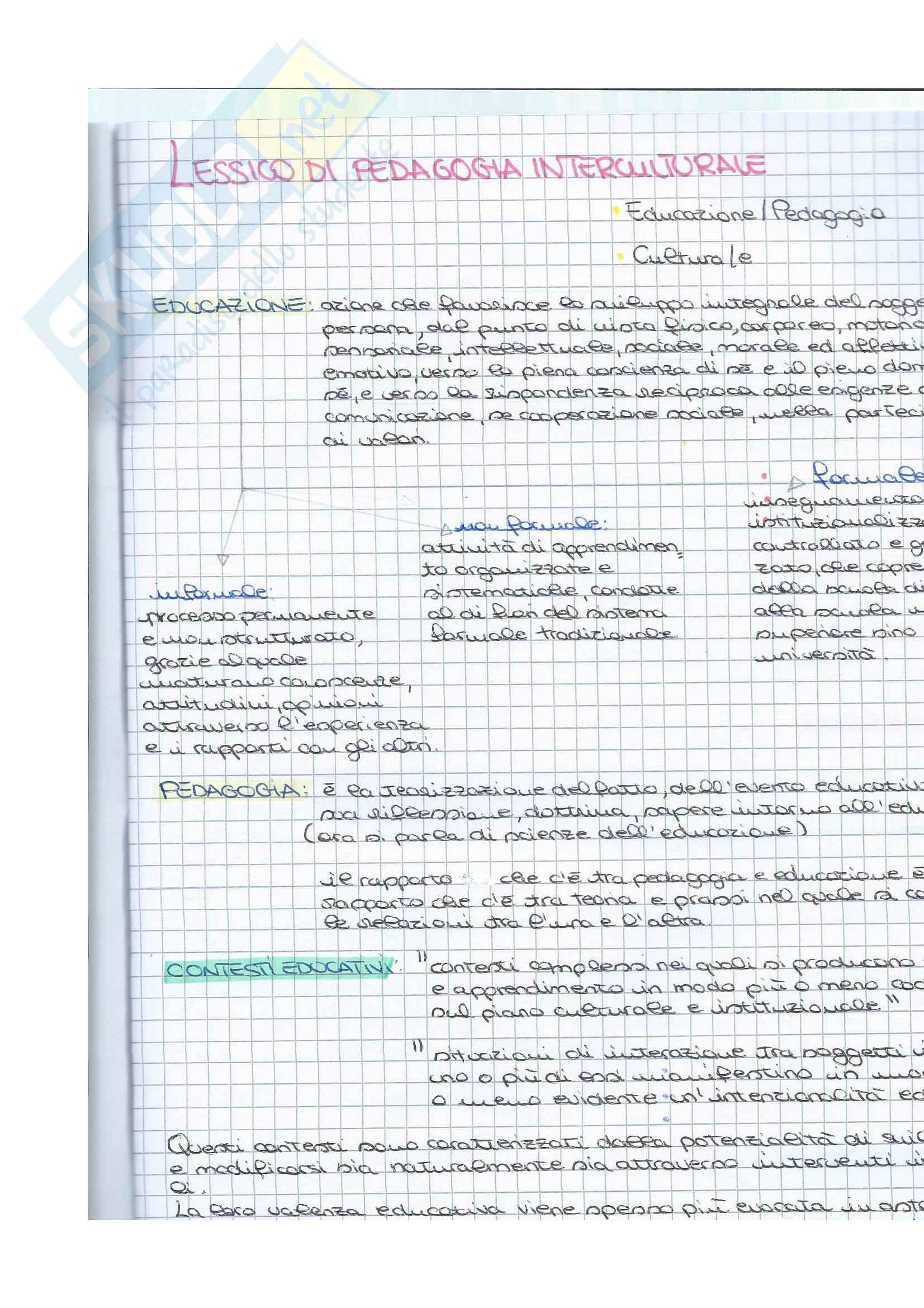 Appunti Pedagogia Interculturale