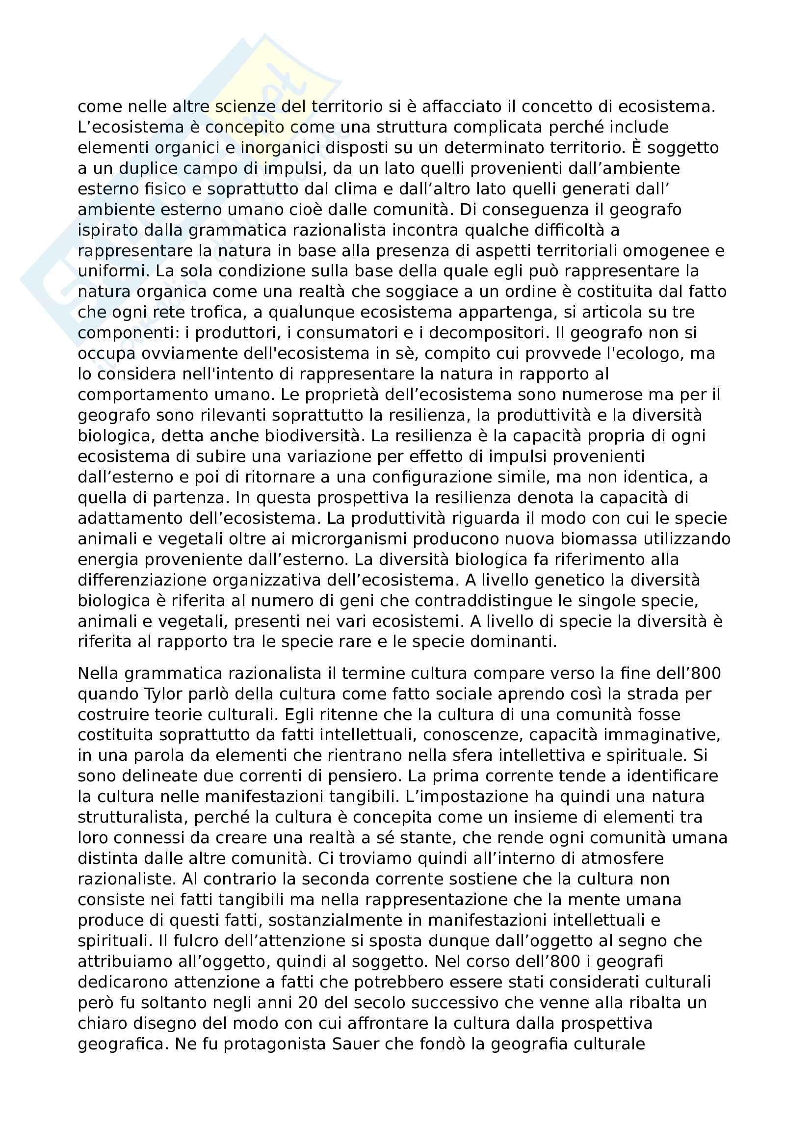 Riassunto esame geografia culturale, prof. Barilaro, libro consigliato Le grammatiche della geografia, Vallega Pag. 11