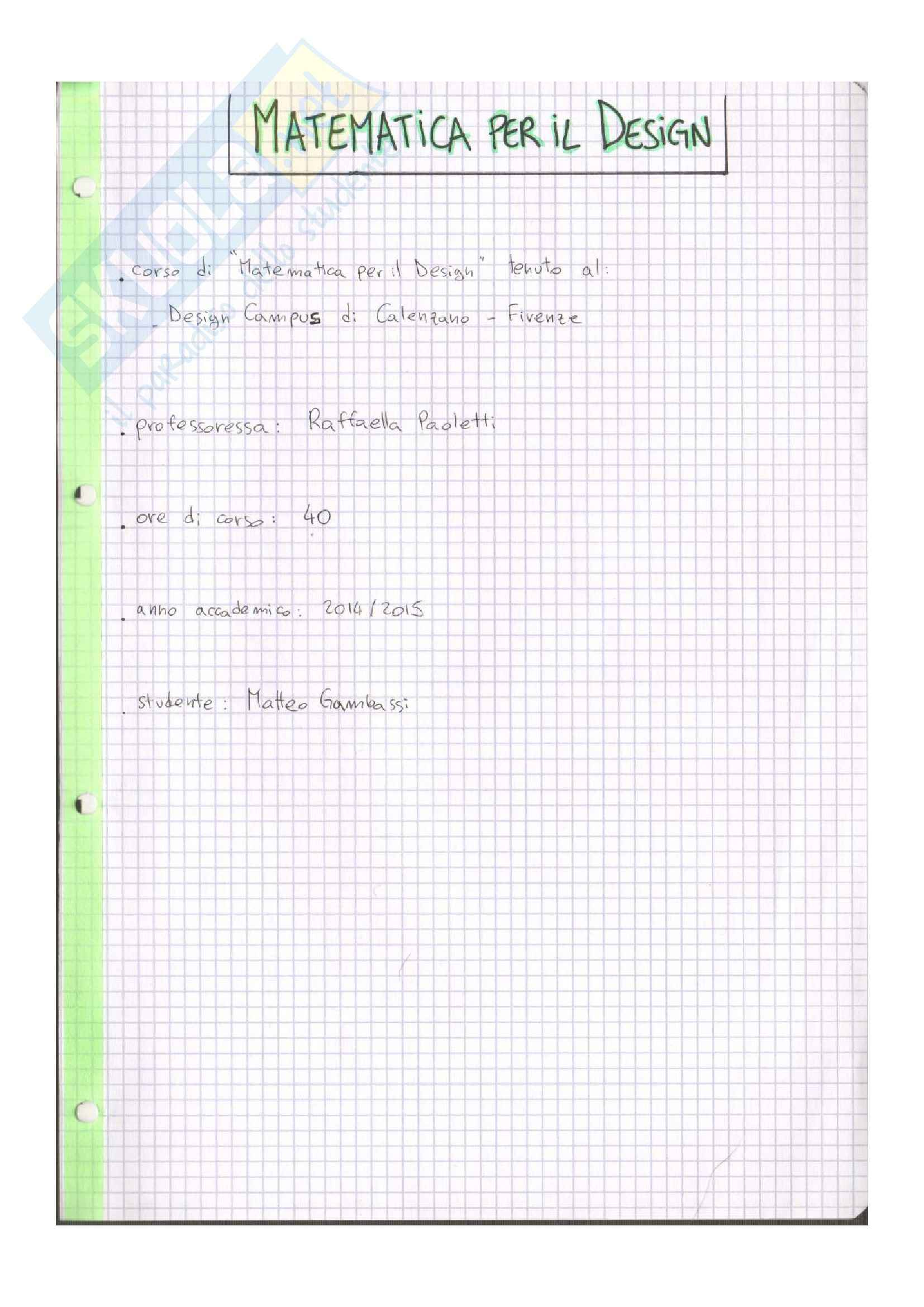 Riassunto esame Matematica per il Design, prof. Paoletti, libro consigliato Geometria Analitica e Algebra Lineare, Anichini, Conti, Paoletti
