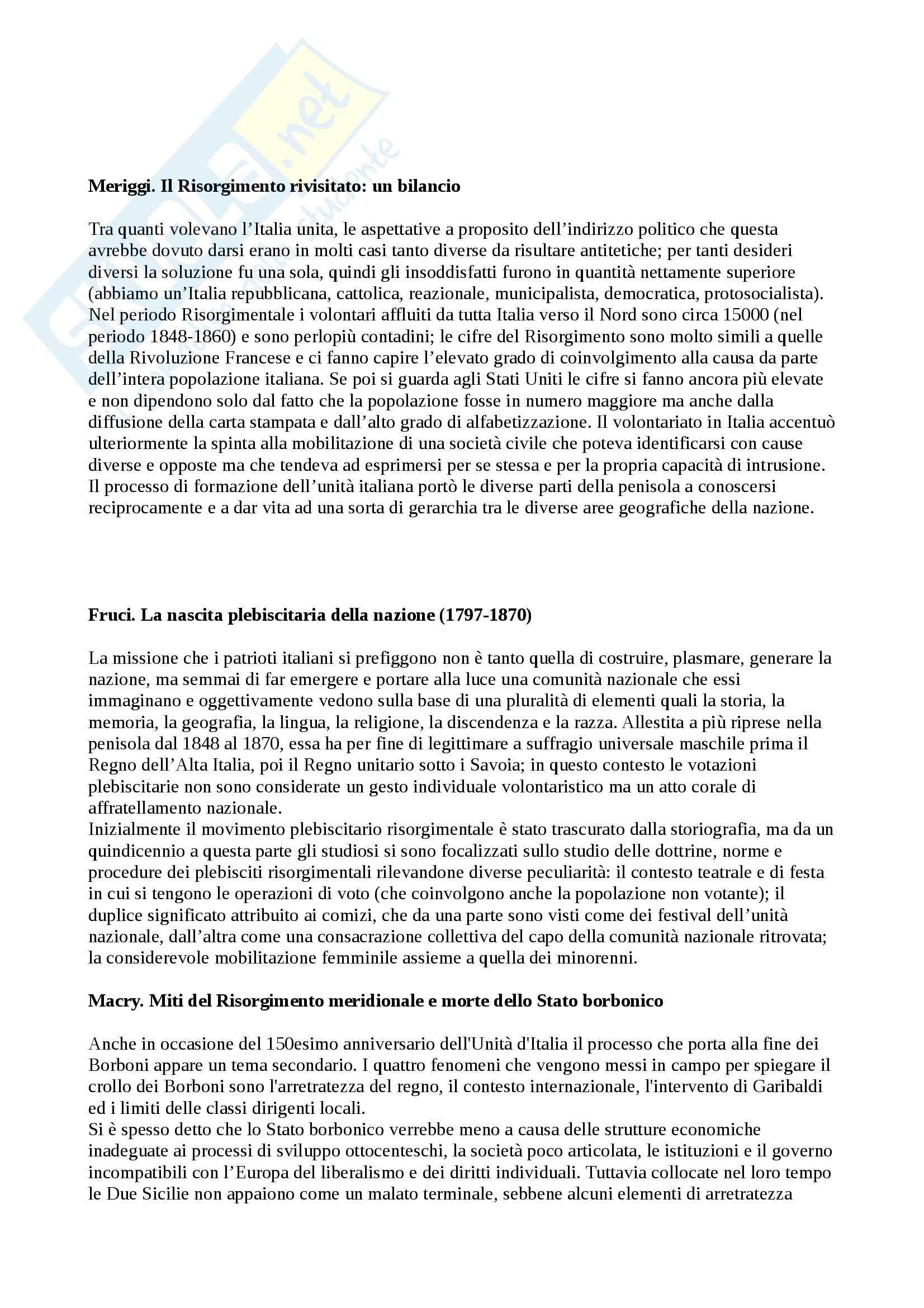 Riassunto esame Storia contemporanea, prof. Roccucci, libro consigliato La costruzione dello Stato Nazione in Italia