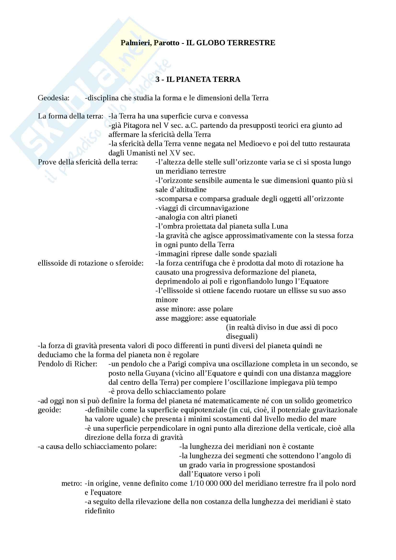 Riassunto esame Geografia, prof. Macchia, libro consigliato Il globo terrestre, Palmieri, Parotto