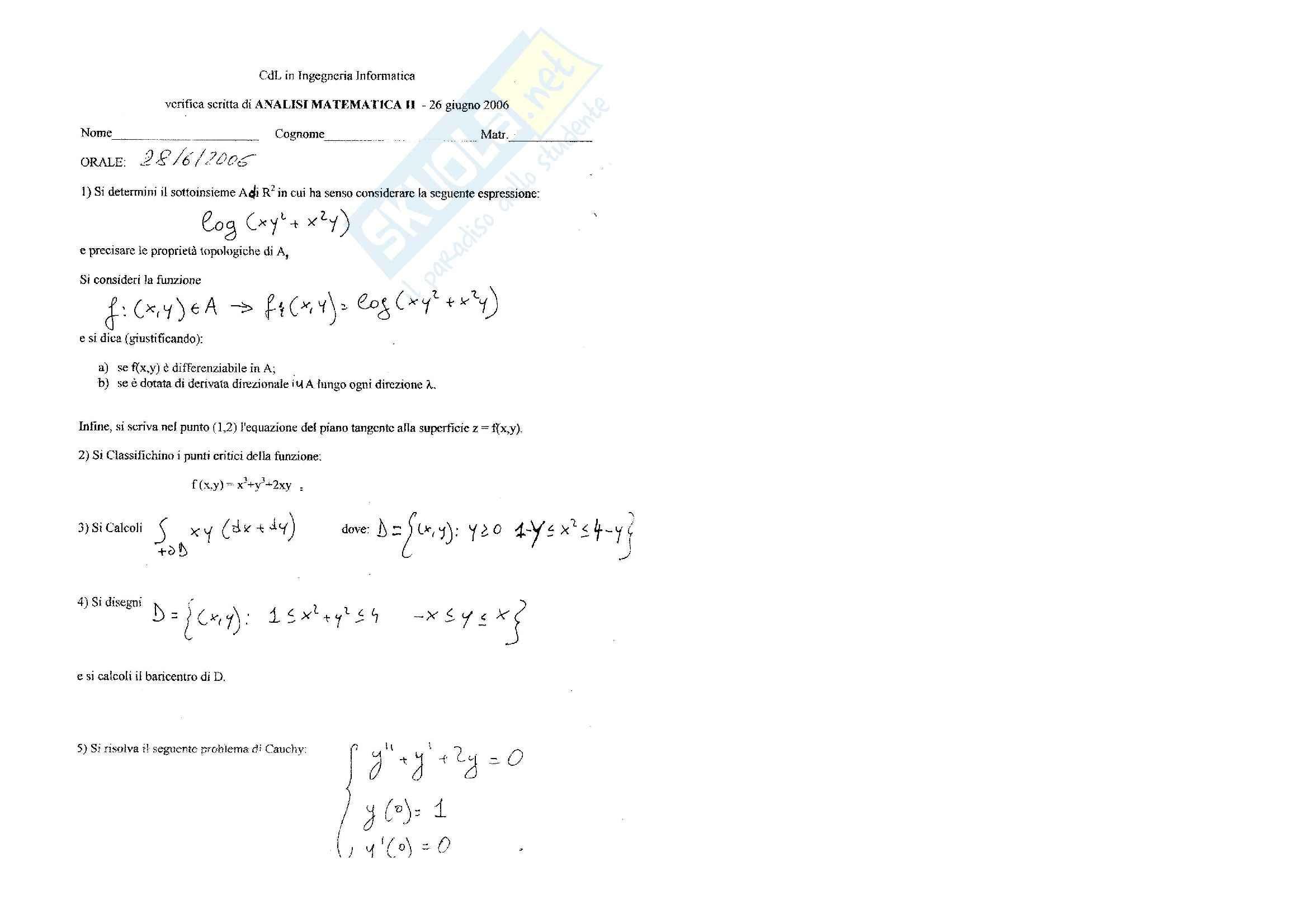 Analisi matematica 2 - Esercitazione