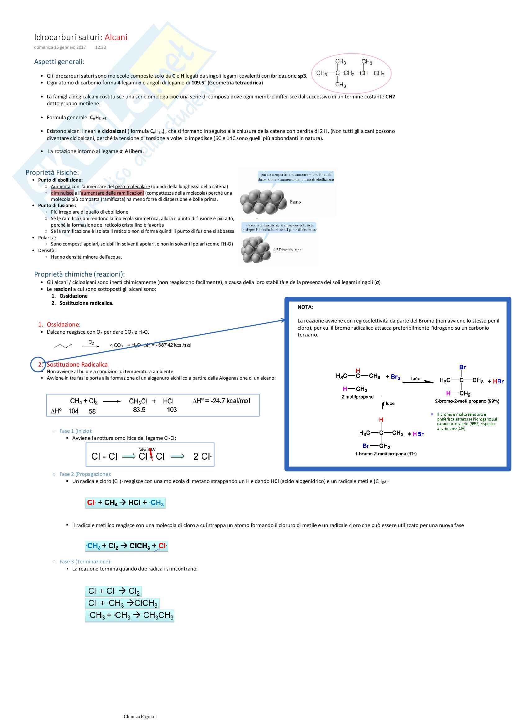 Chimica organica - Schemi riassuntivi: Caratteri generali, proprietà fisico-chimiche, reazioni di tutte le molecole organiche