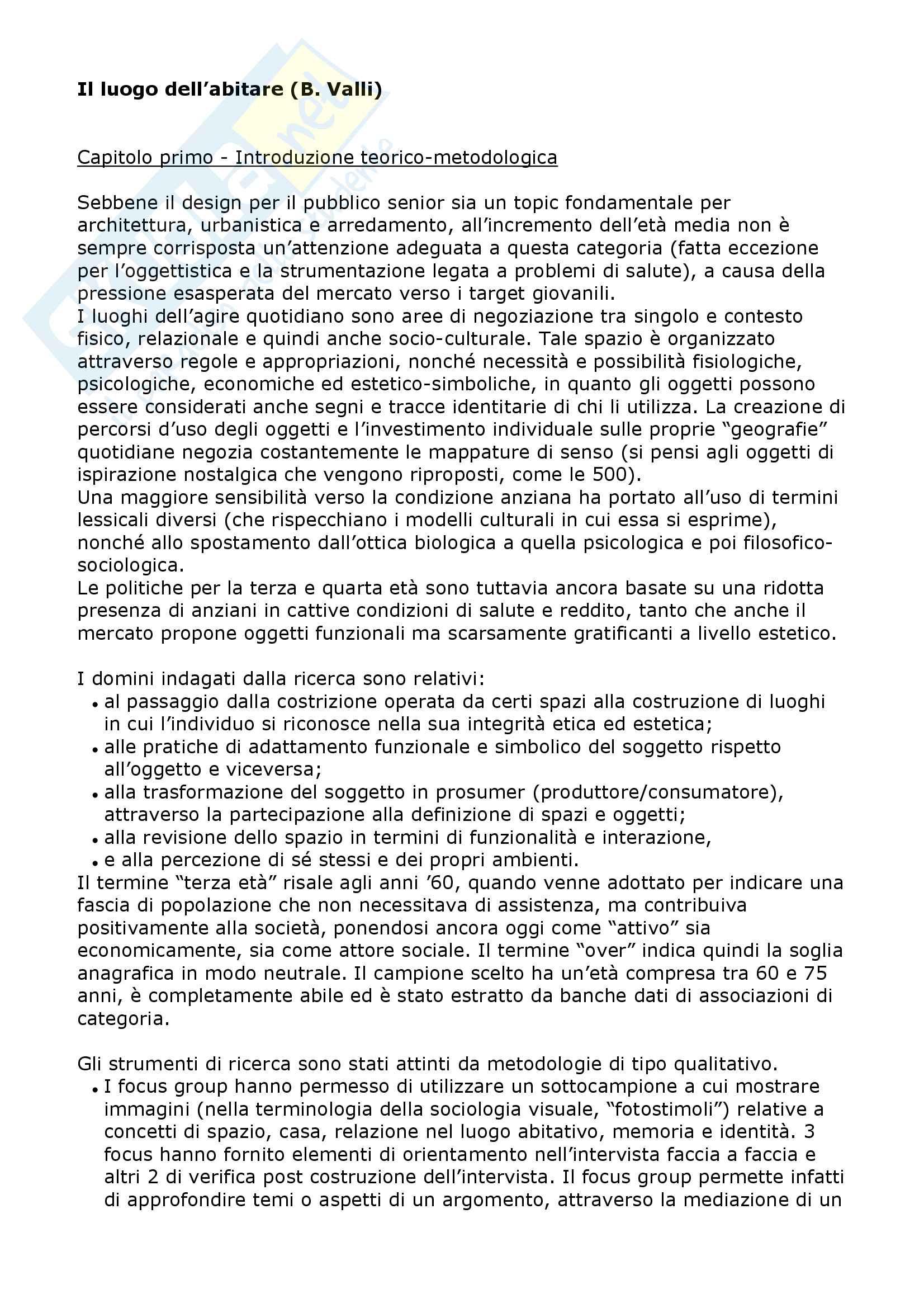 Riassunto esame Sociologia dei mass media e linguaggi del brand, prof. Valli, libro consigliato Il luogo dell abitare, Valli
