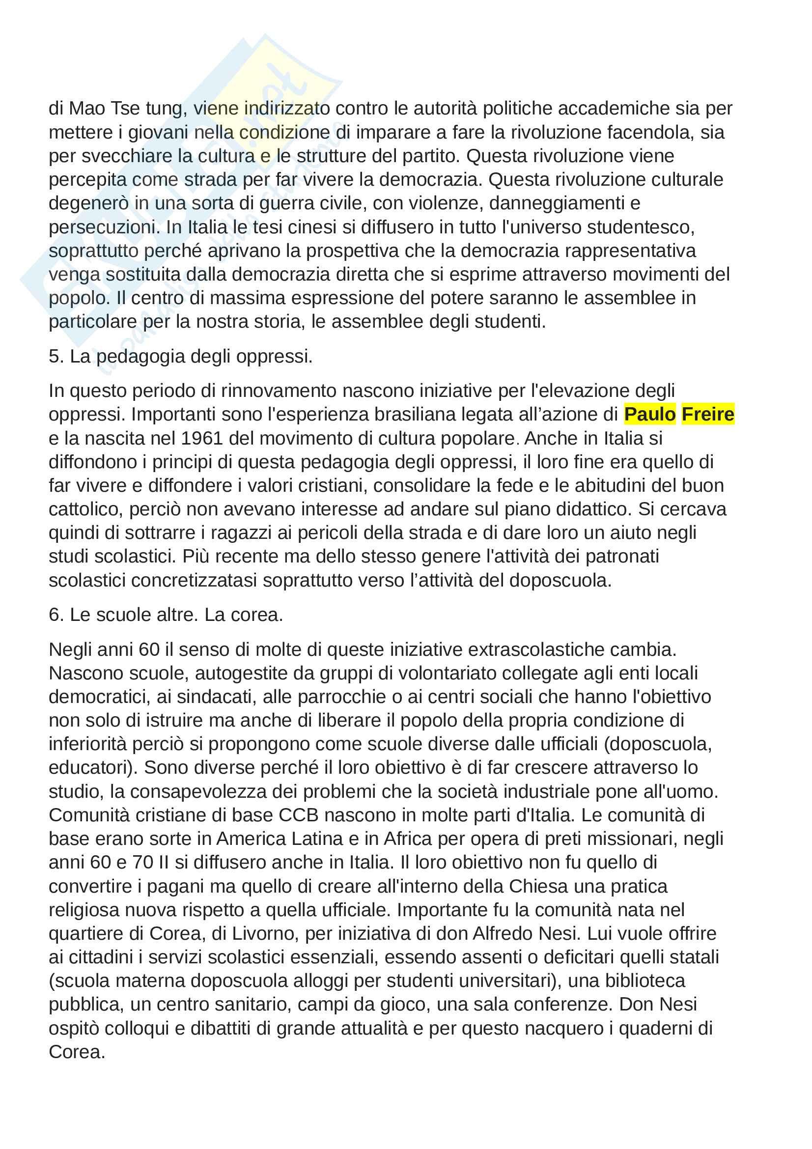Riassunto esame storia dell'educazione e del sistema scolastico, prof.d'Arcangeli, libro consigliato La scuola della Repubblica, un ideale non realizzato, Alberti, A. Pag. 21