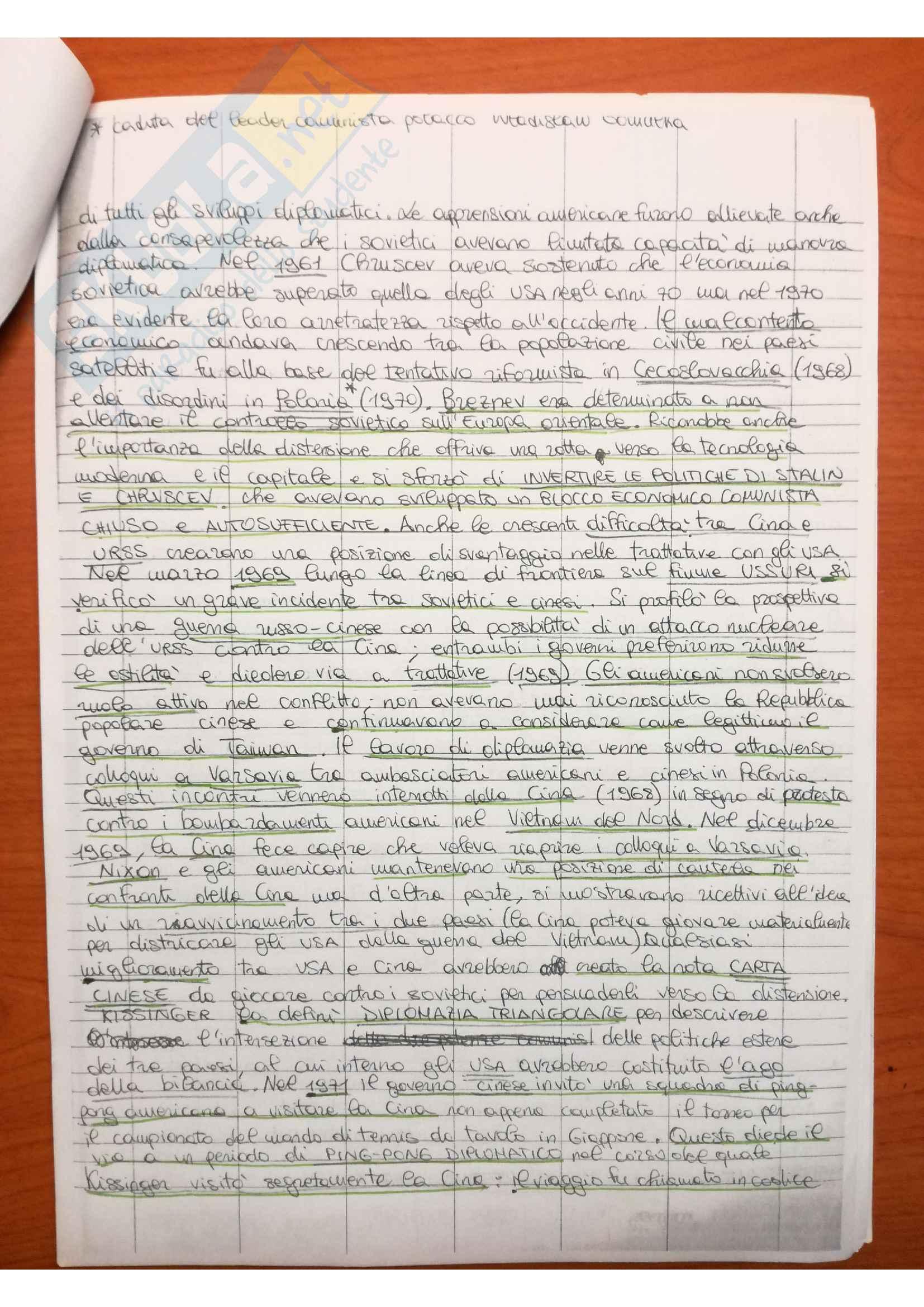 Riassunto esame storia contemporanea, prof. Novarino, libro consigliato La guerra fredda, Smith Pag. 36