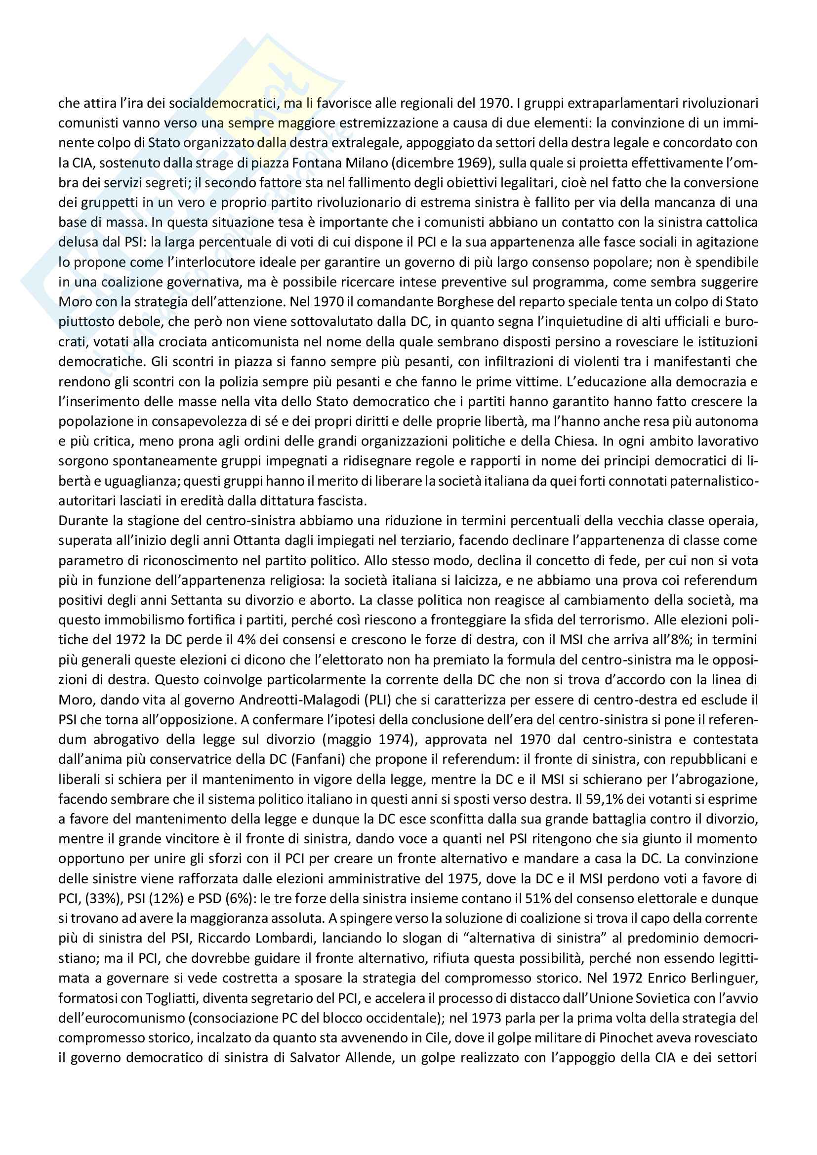 Riassunto storia dei partiti politici, prof. Capperucci, libro consigliato Storia politica della Repubblica di Simona Colarizi Pag. 36