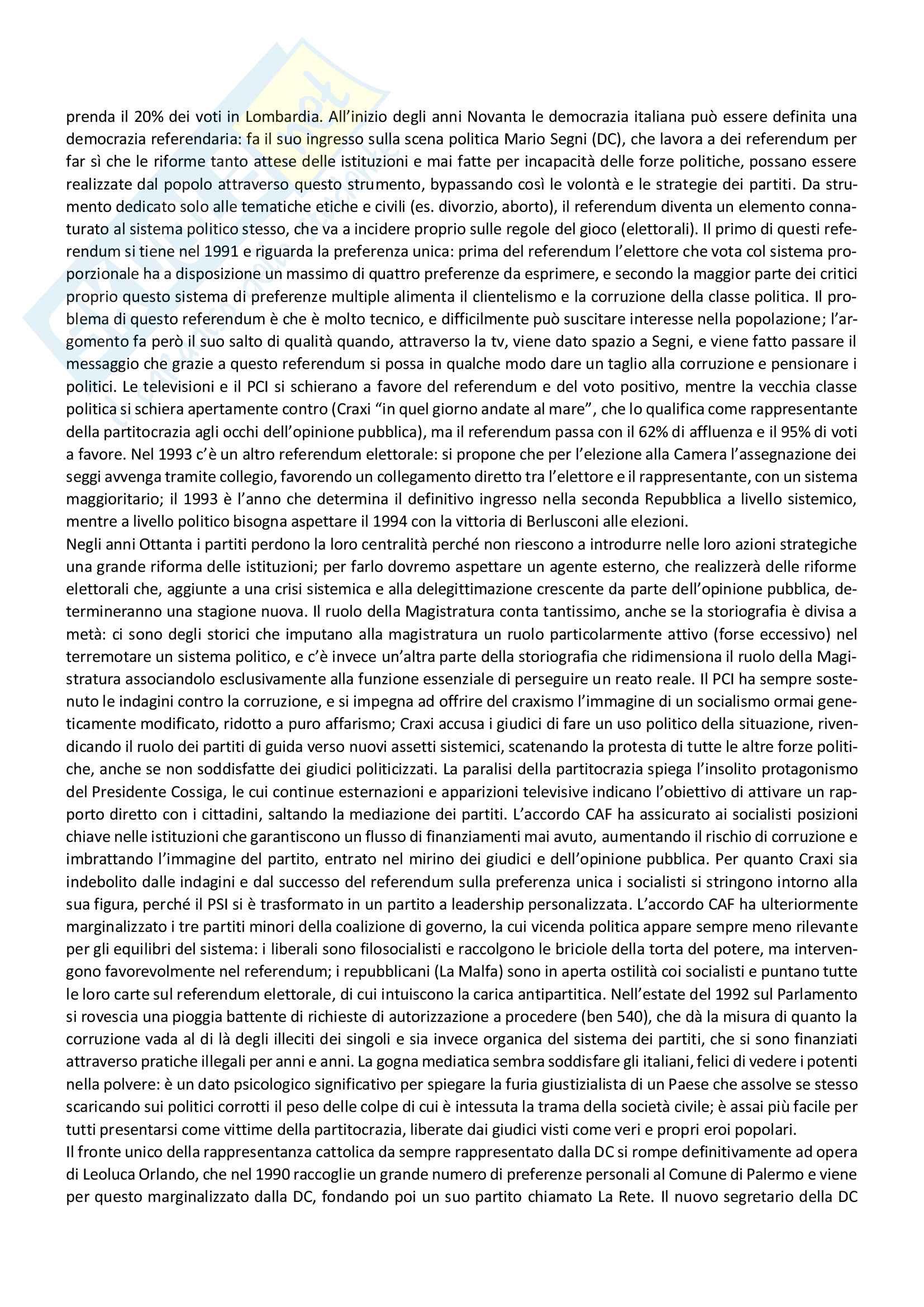 Riassunto storia dei partiti politici, prof. Capperucci, libro consigliato Storia politica della Repubblica di Simona Colarizi Pag. 41