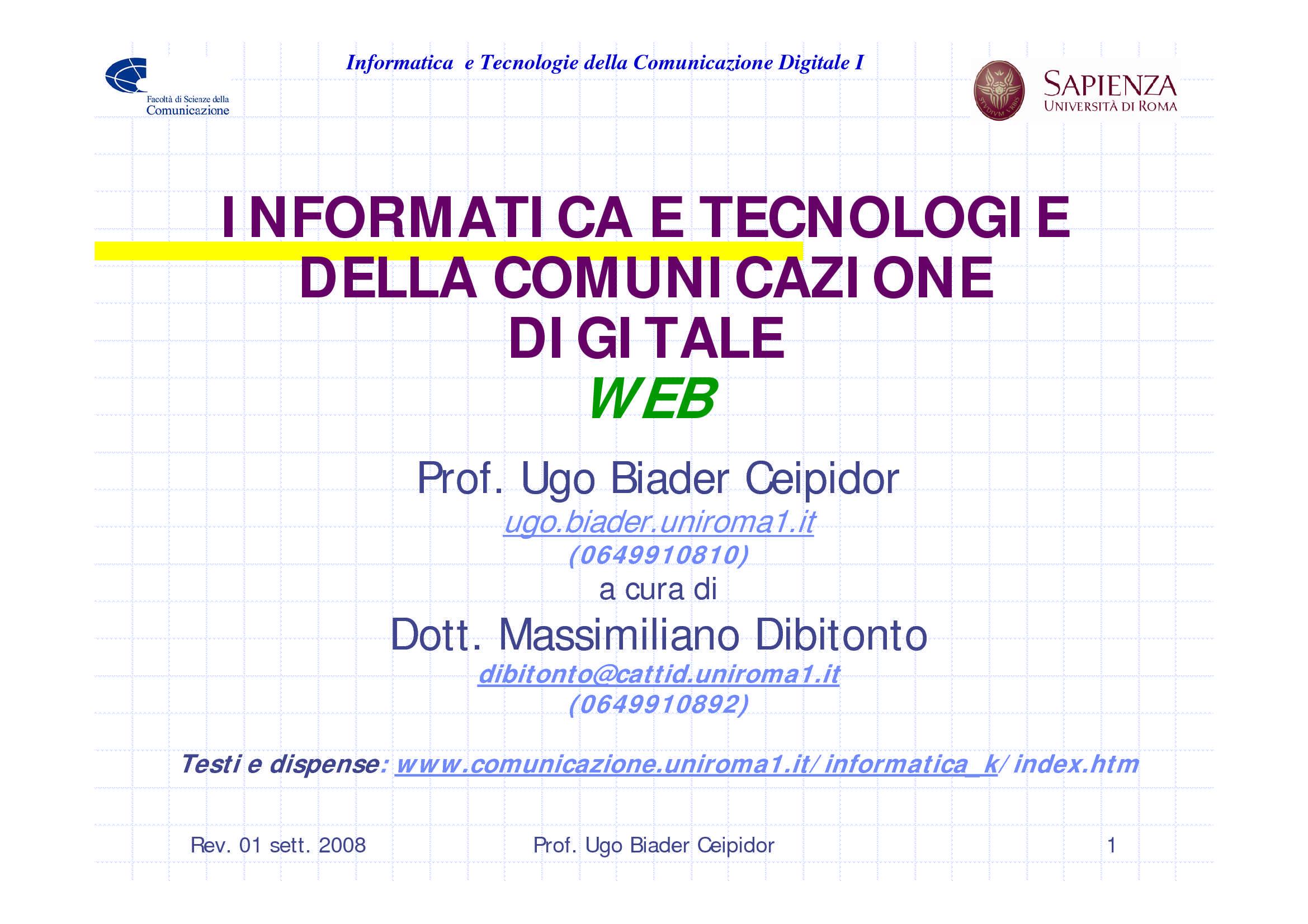 dispensa U. Biader Ceipidor INFORMATICA E TECNOLOGIE DELLA COMUNICAZIONE DIGITALE