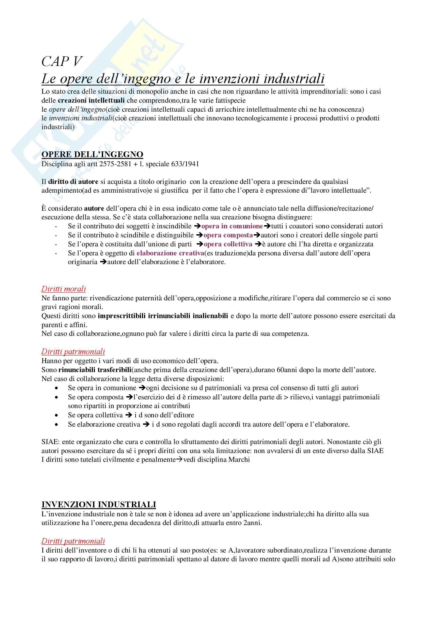 Diritto commerciale - opere dell'ingegno e invenzioni industriali