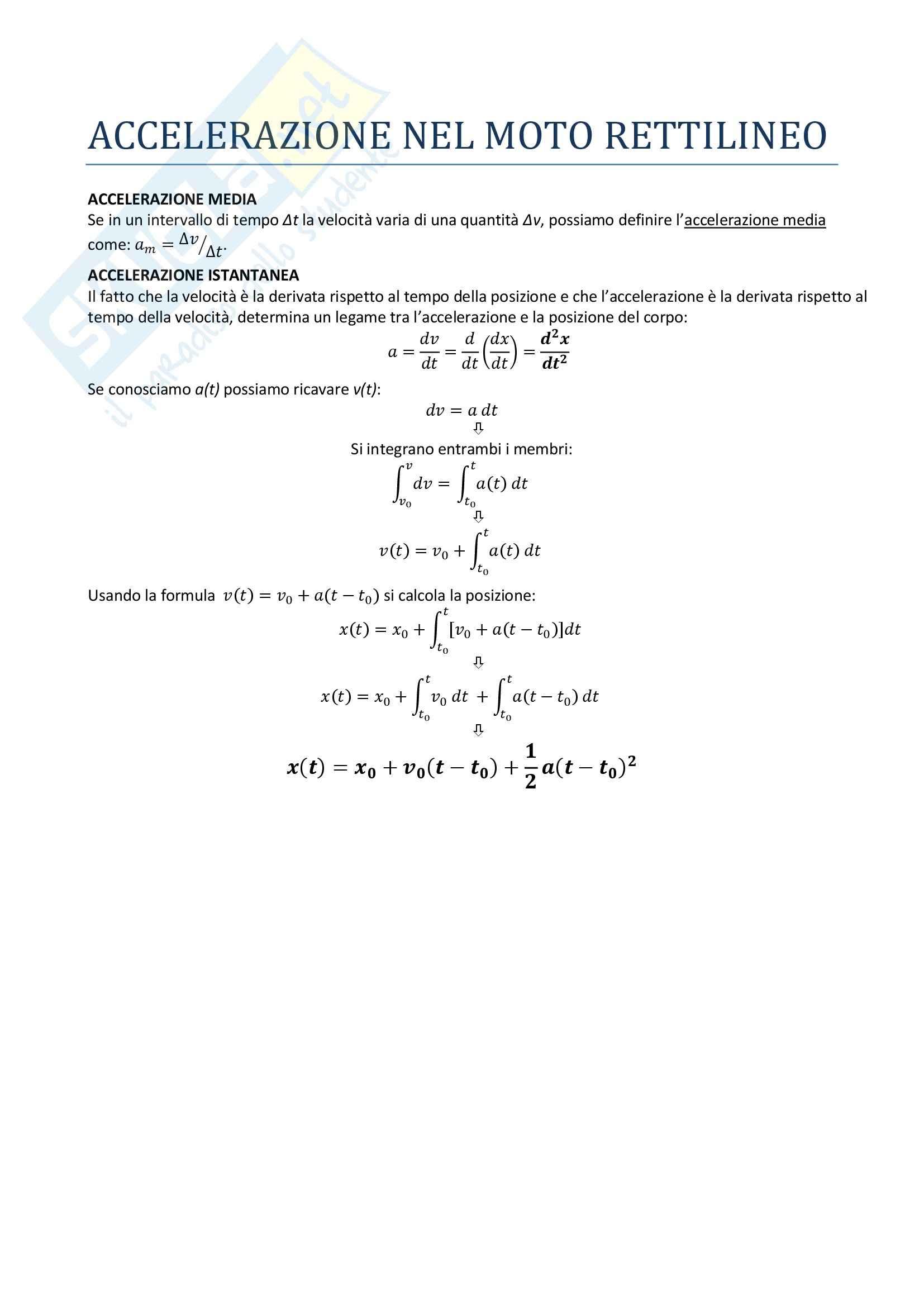 Fisica I - l'accelerazione nel moto rettilineo