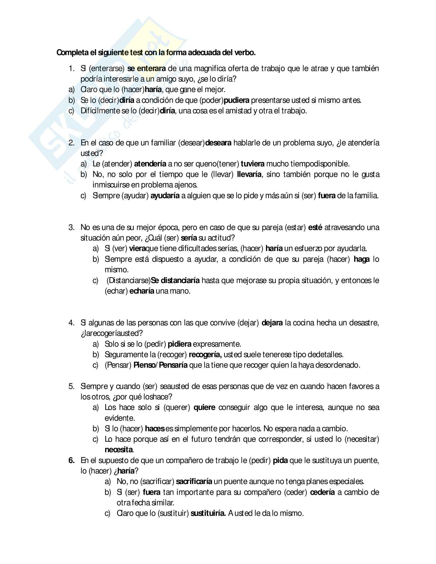 Lingua spagnola 2 - Esercizio