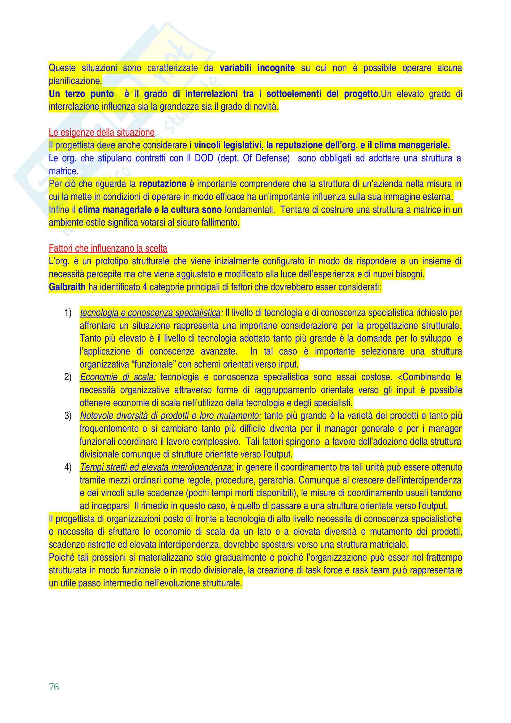 Organizzazione aziendale Pag. 76