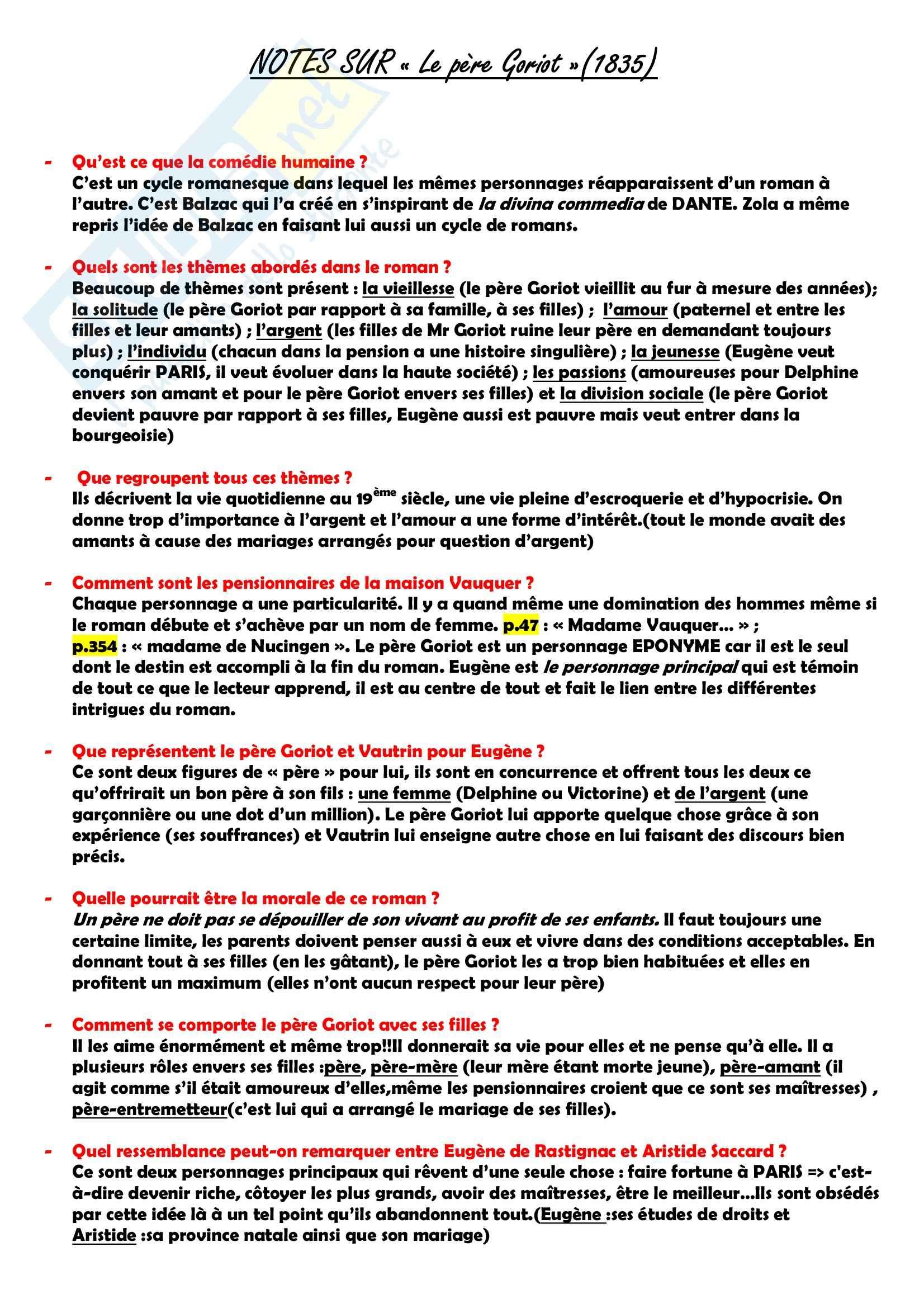 Letteratura francese - Notes sur Le père Goriot