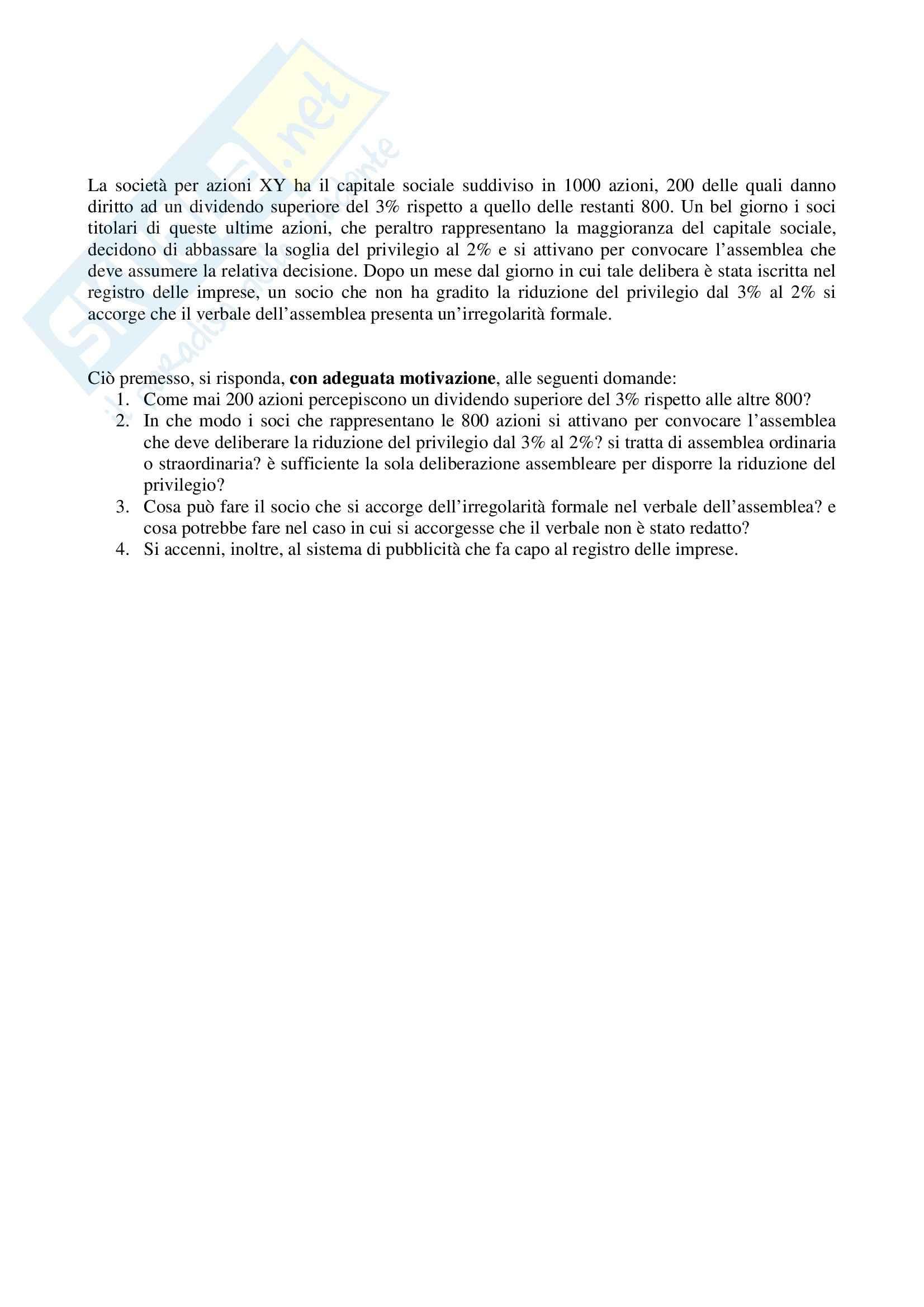 Diritto commerciale - prova marzo 2006
