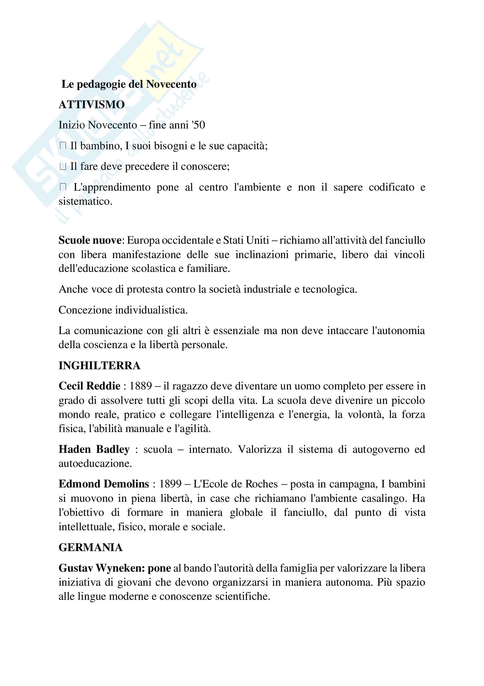 Riassunto esame Pedagogia generale, prof. D'Agnese Vasco, Libro consigliato Le pedagogie del Novecento, Cambi F