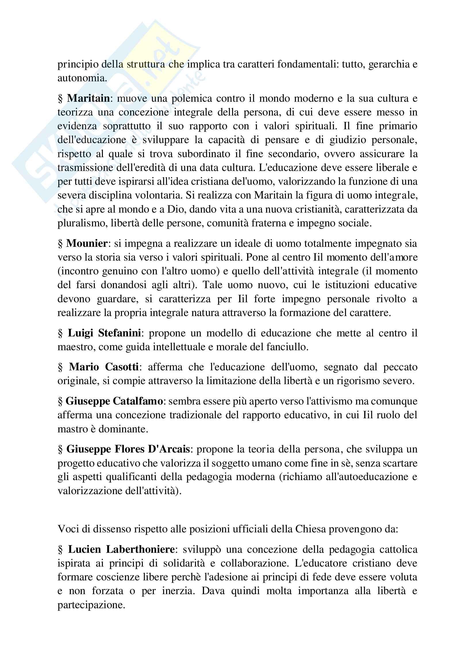 Riassunto esame Pedagogia generale, prof. D'Agnese Vasco, Libro consigliato Le pedagogie del Novecento, Cambi F Pag. 11