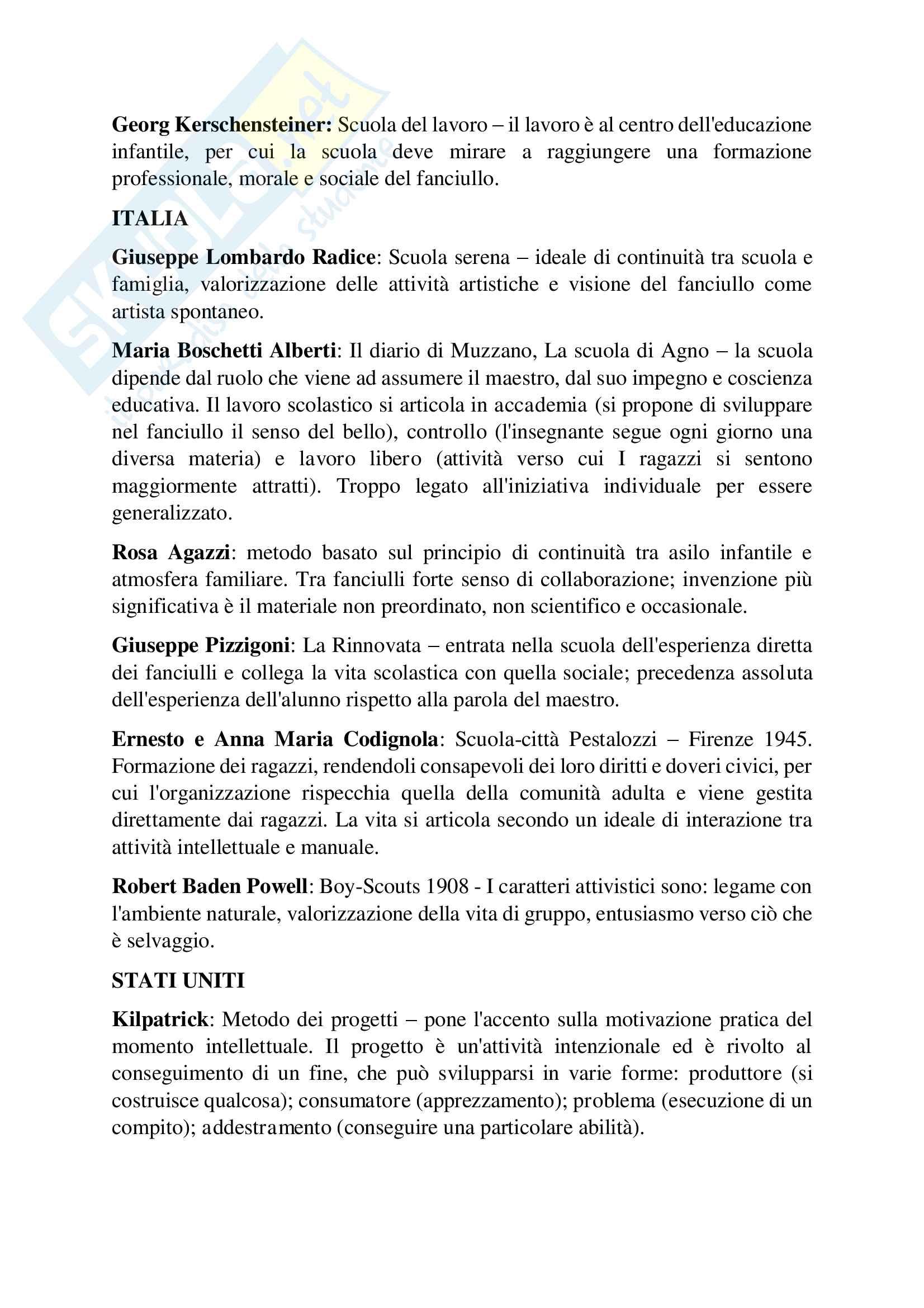 Riassunto esame Pedagogia generale, prof. D'Agnese Vasco, Libro consigliato Le pedagogie del Novecento, Cambi F Pag. 2