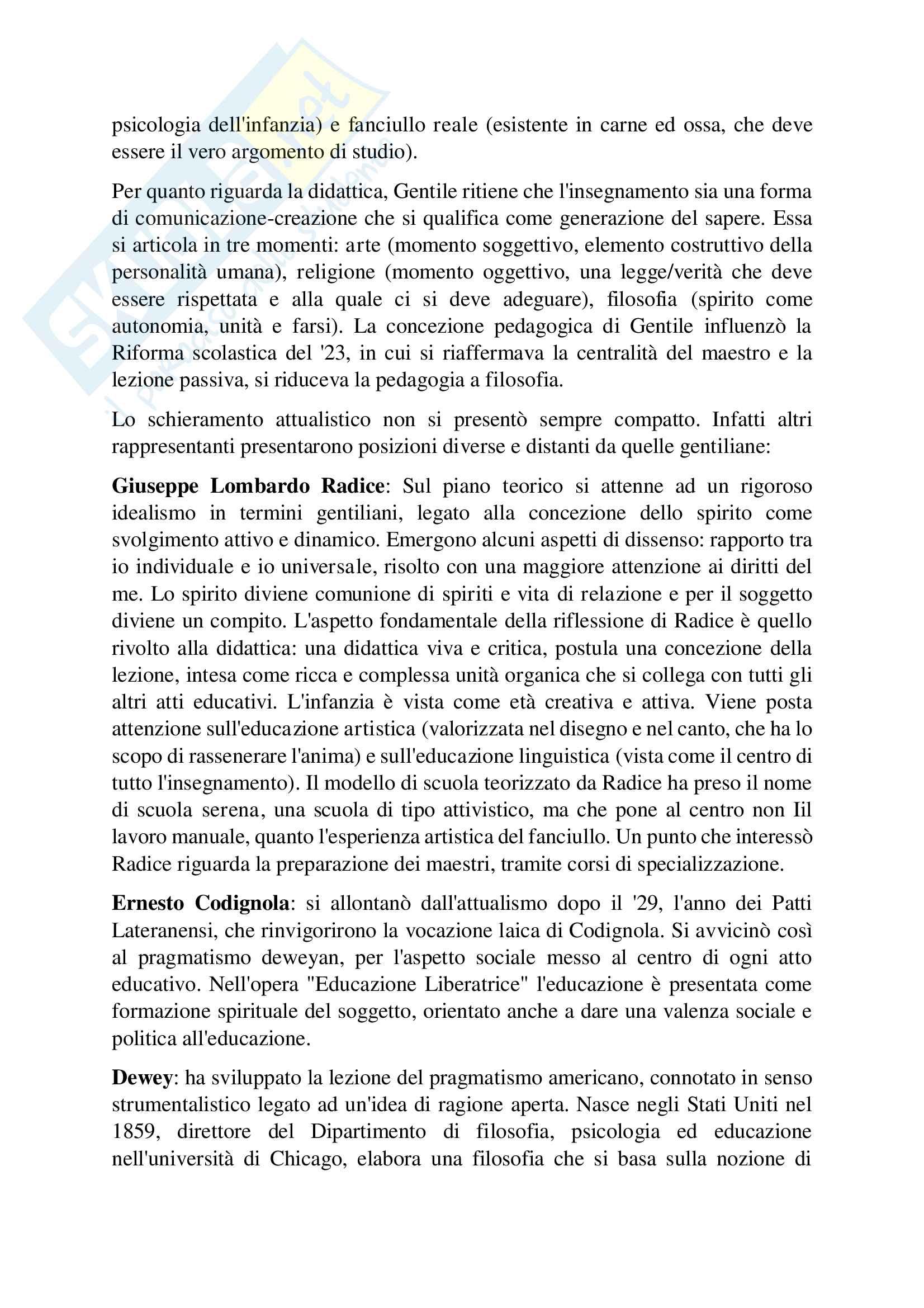 Riassunto esame Pedagogia generale, prof. D'Agnese Vasco, Libro consigliato Le pedagogie del Novecento, Cambi F Pag. 6