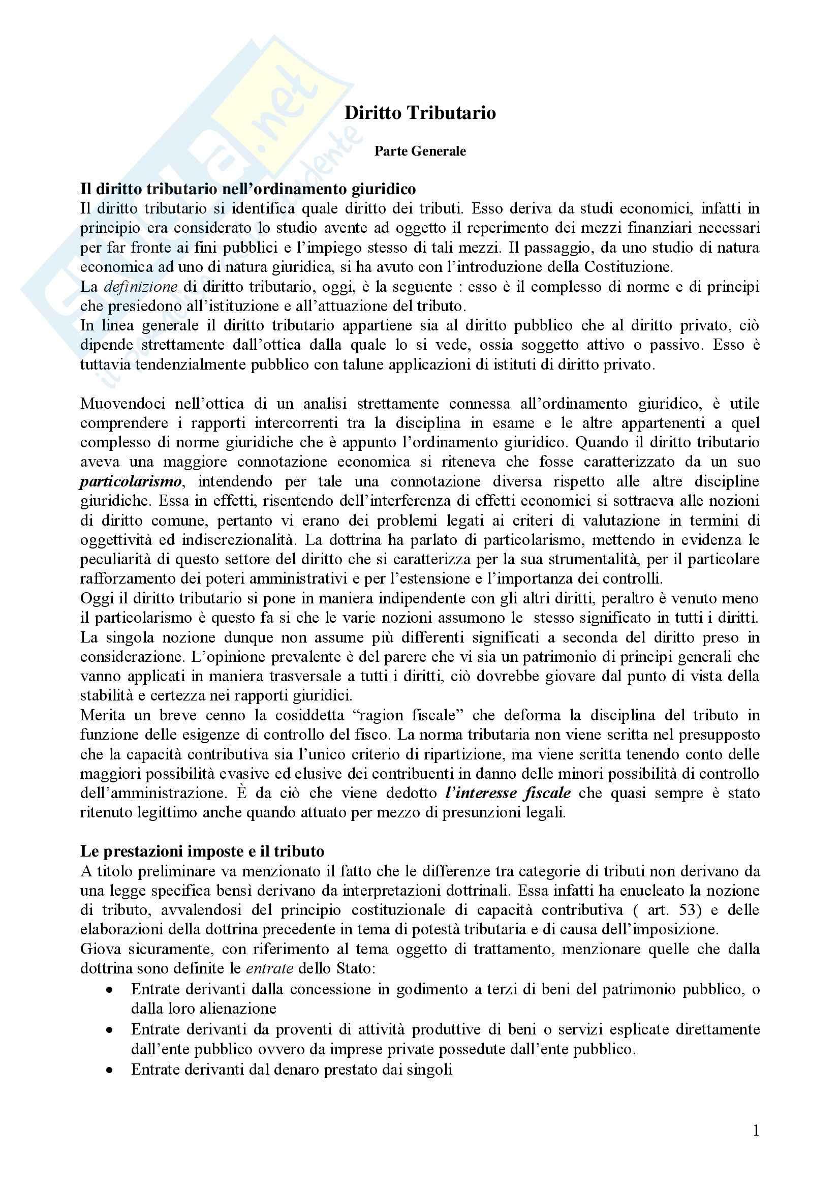 Riassunto esame diritto tributario, prof. Fantozzi